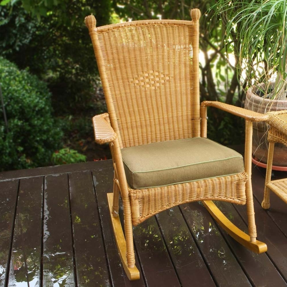 Rattan Outdoor Rocking Chairs Intended For Fashionable Tortuga Outdoor Portside Classic Wicker Rocking Chair – Wicker (View 16 of 20)