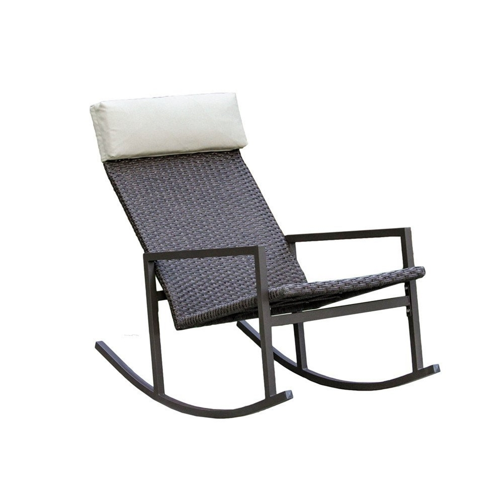 Rattan Outdoor Rocking Chairs Within Most Current Living Express Stone Harbor Outdoor Rattan Wicker Rocking Chair (View 18 of 20)