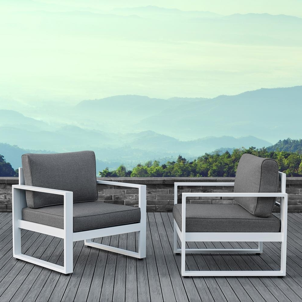 Real Flame Baltic White 2 Piece Aluminum Patio Conversation Set With In Famous Aluminum Patio Conversation Sets (View 15 of 20)