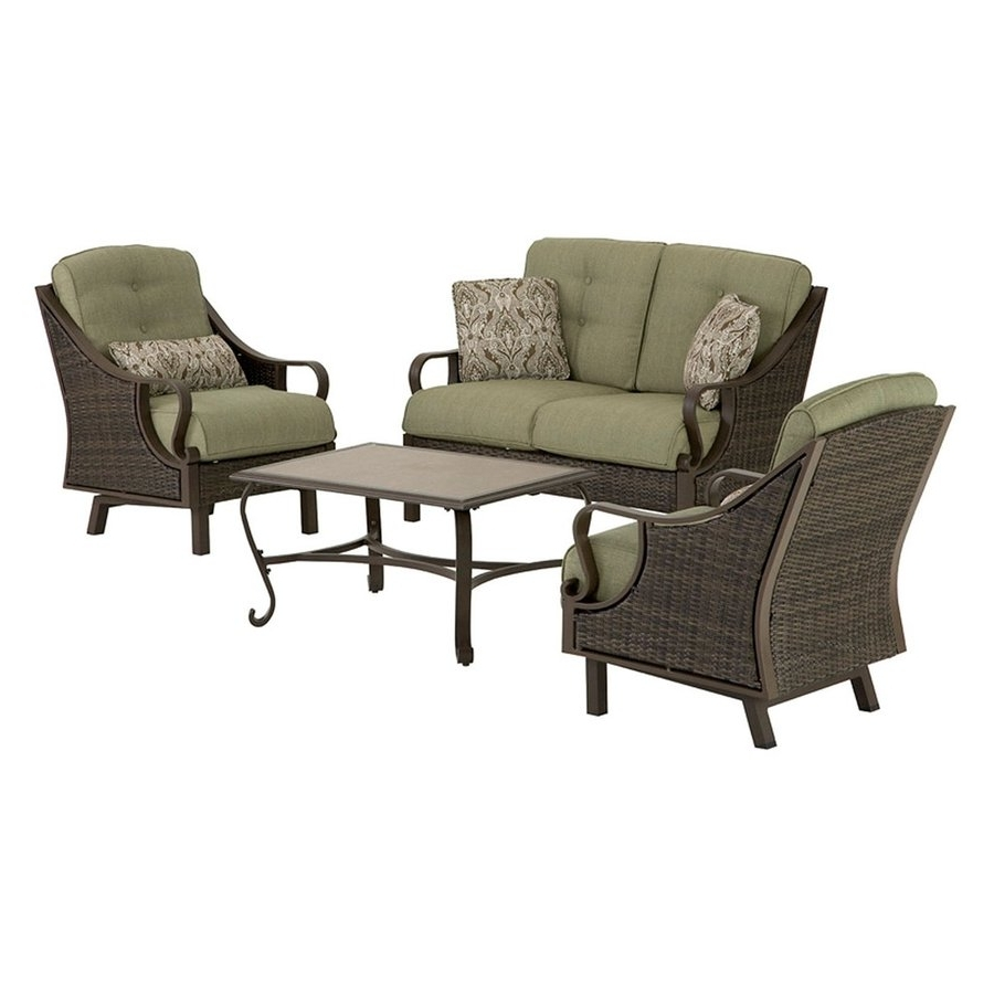 Recent Amazon Patio Furniture Conversation Sets Pertaining To Shop Hanover Outdoor Furniture Ventura 4 Piece Wicker Frame Patio (View 13 of 20)