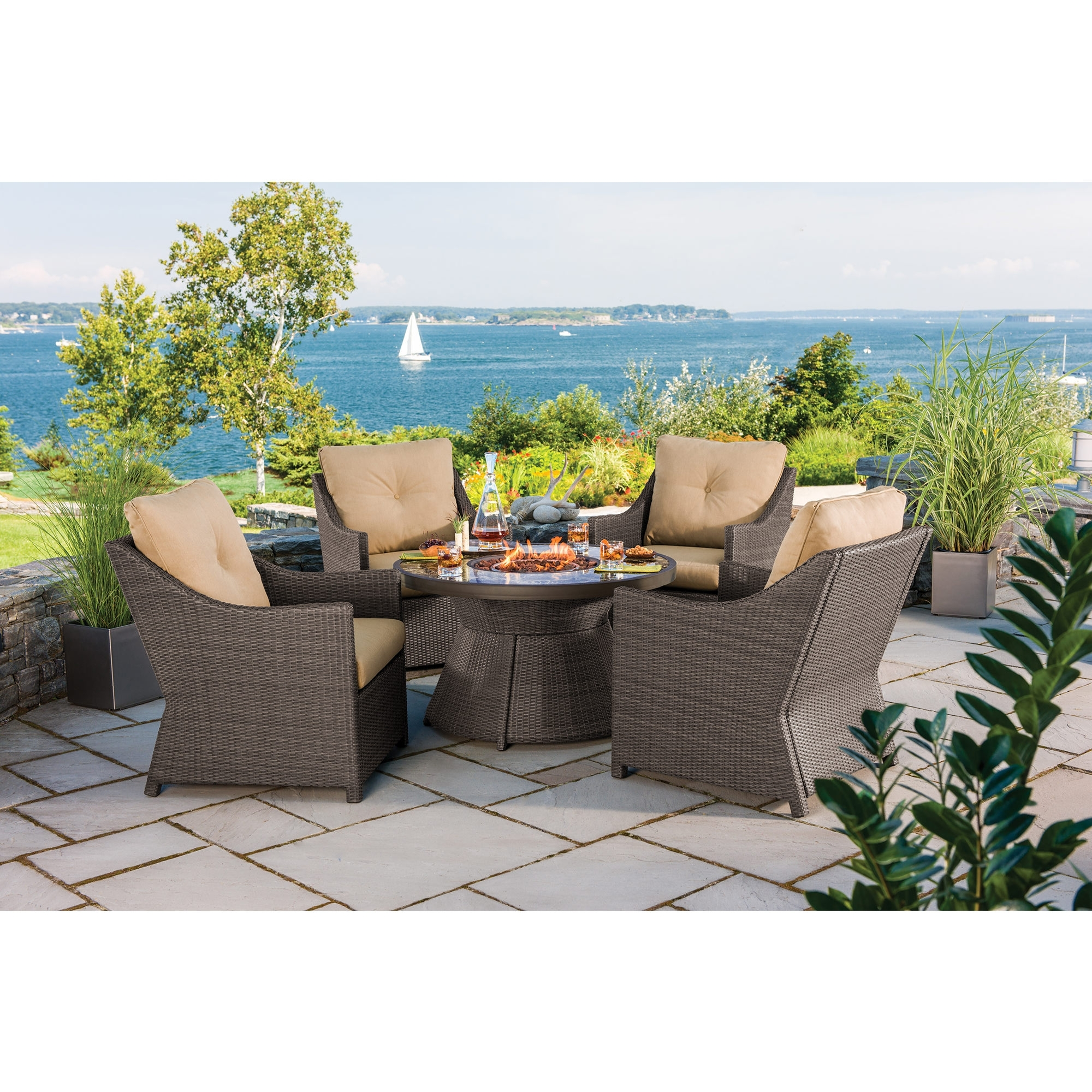 Recent Berkley Jensen Antigua Piece Wicker Fire Pit Chat Set Bjs Propane Throughout Patio Conversation Sets With Propane Fire Pit (View 18 of 20)