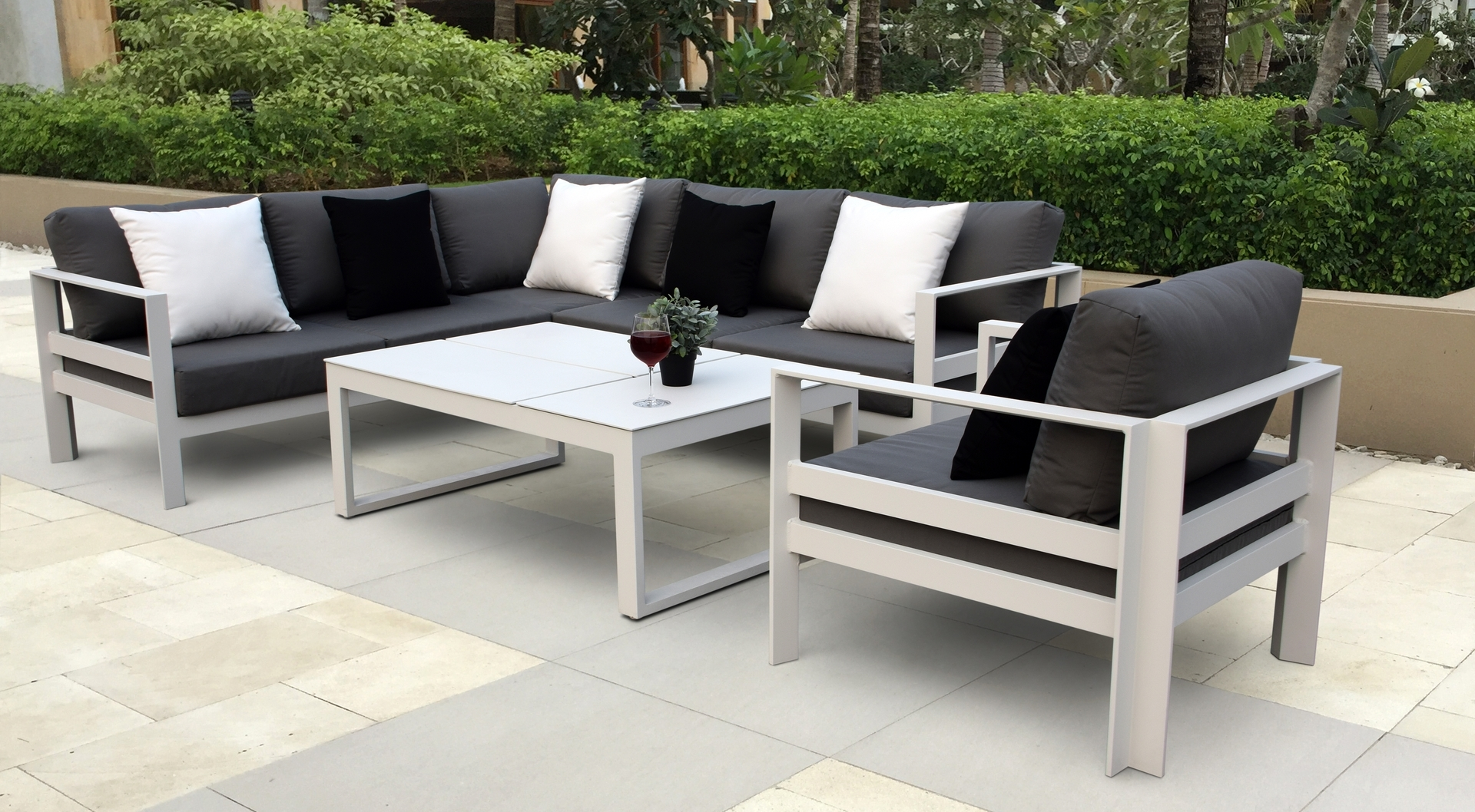 Recent Black Aluminum Patio Conversation Sets Within Patio : Tile Patio Table Set Darlee Elisabeth 9 Piece Cast Aluminum (Gallery 16 of 20)