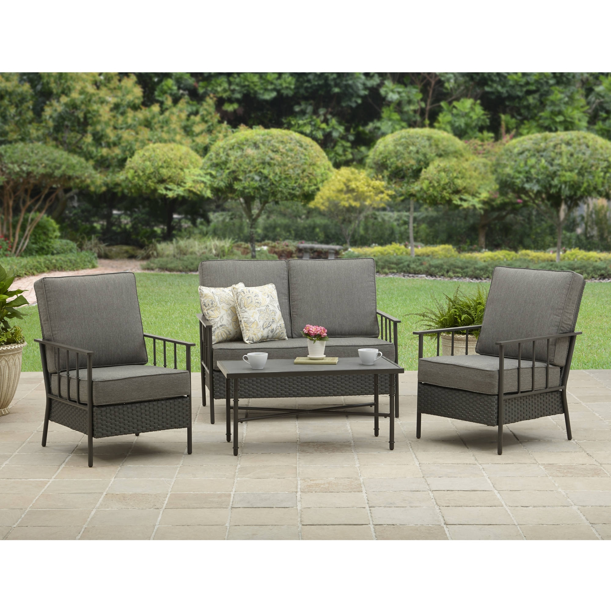 Recent Black Patio Conversation Sets Inside Better Homes And Garden Fairwater 4 Piece Outdoor Conversation Set (Gallery 6 of 20)