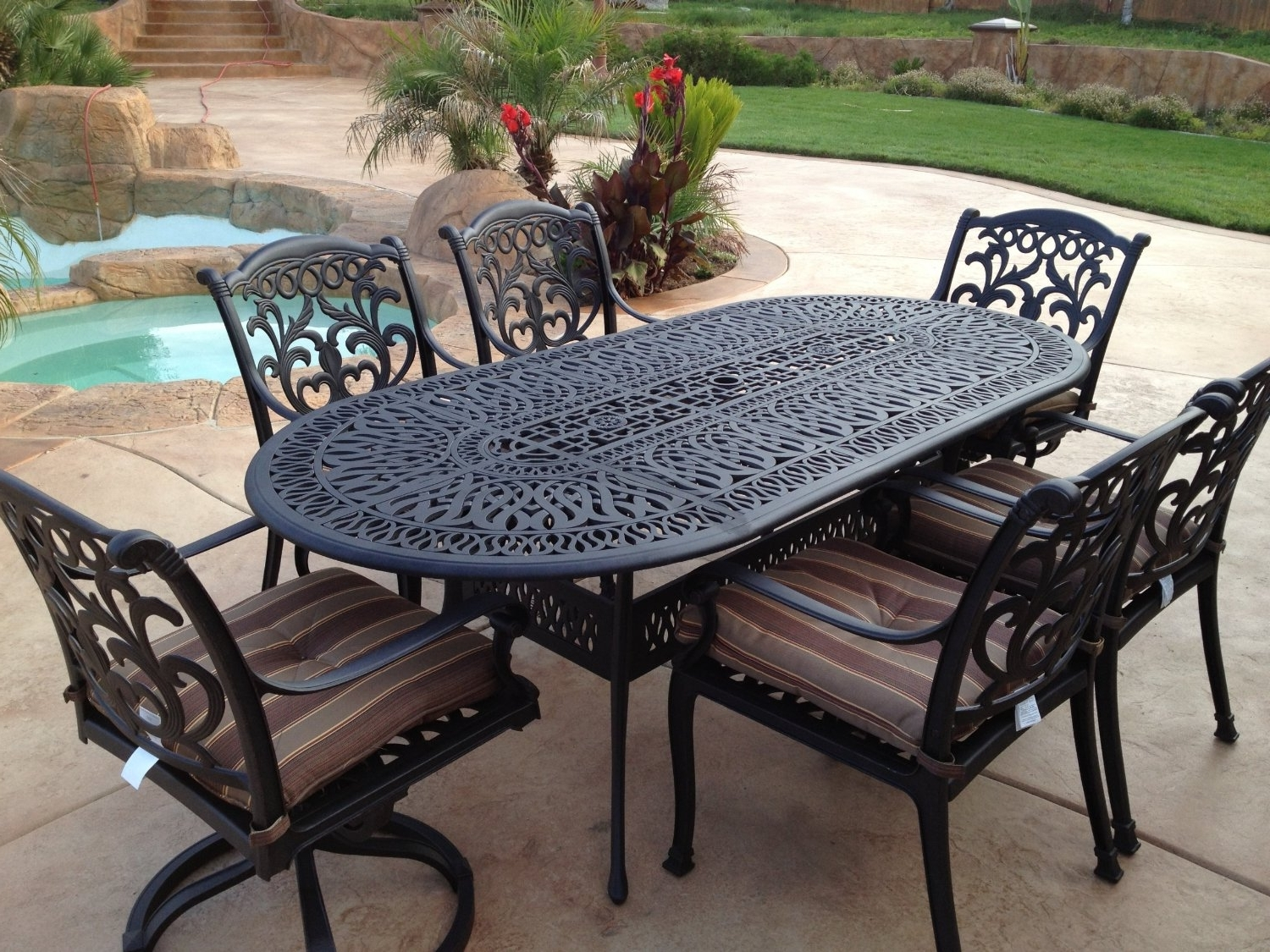 Recent Elegant Patio Furniture Metal 27 Hampton Bay Fire Pit Sets Intended For Iron Patio Conversation Sets (Gallery 7 of 20)