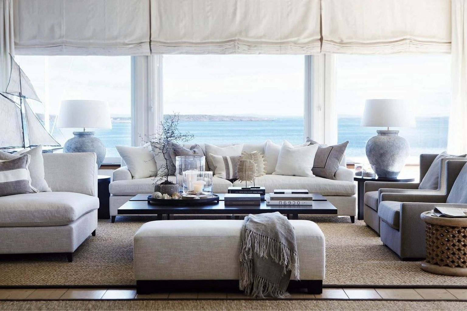 Recent Living Room : Coastal Decor White Fabric Sofa Gray Fabric Armchair Throughout Coastal Living Room Table Lamps (View 15 of 20)