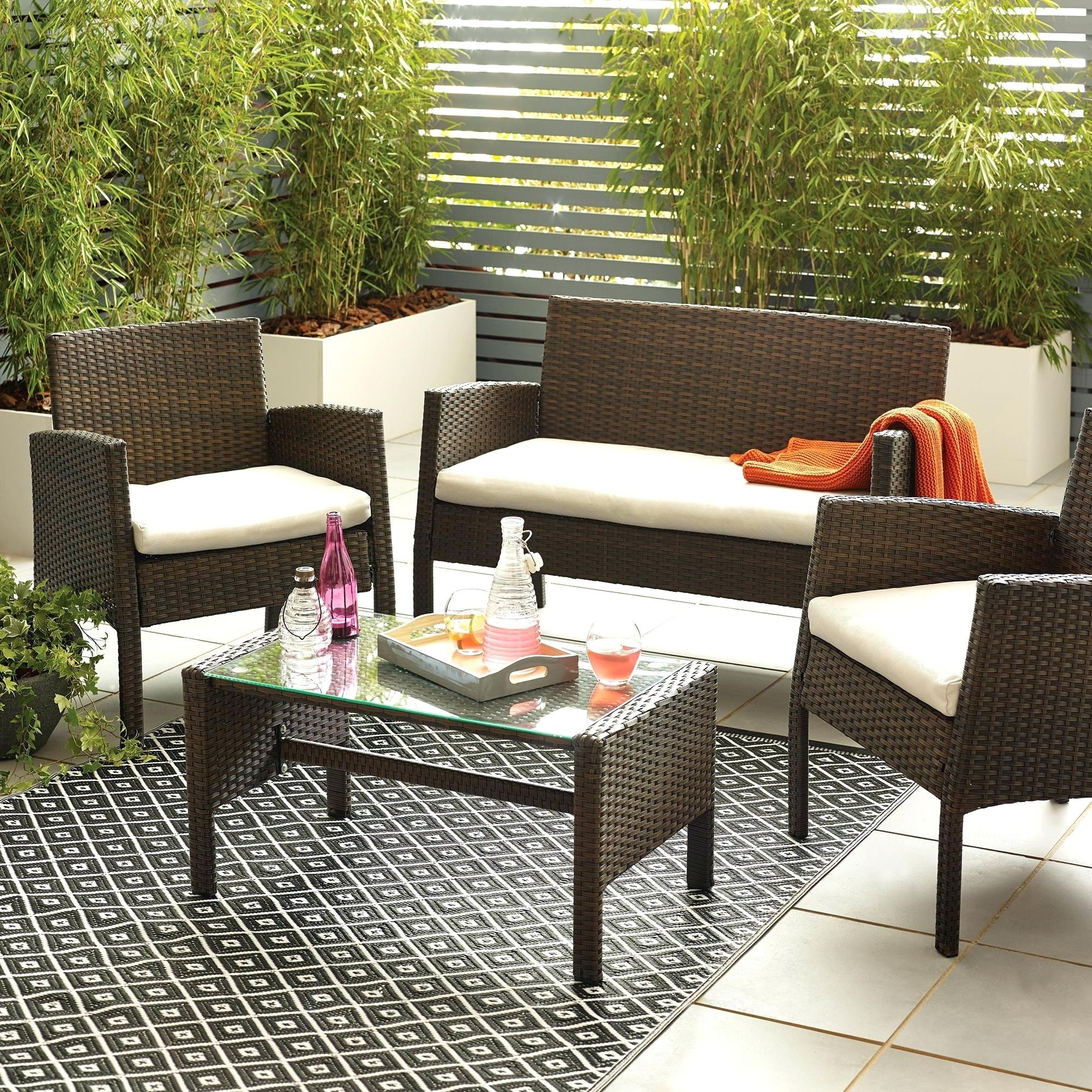 Recent Lowes Patio Furniture Conversation Sets Throughout Outdoor Furniture Conversation Sets Brown 4 Seat Conversation Set (Gallery 6 of 20)