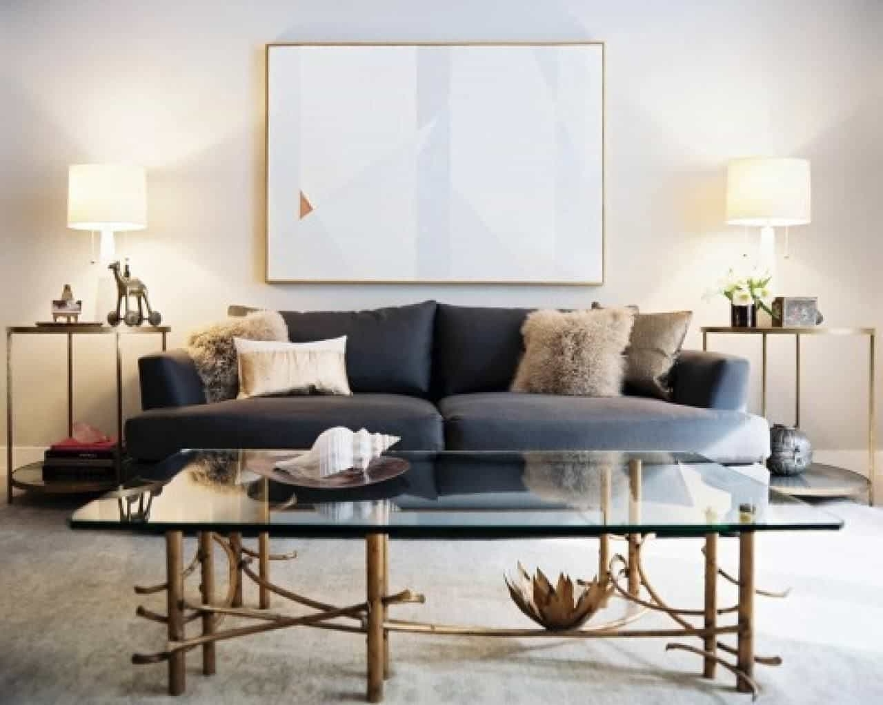 Recent Modern Living Room With Grey Sofa And Side Tables With Table Lamps Throughout Modern Living Room Table Lamps (View 9 of 20)