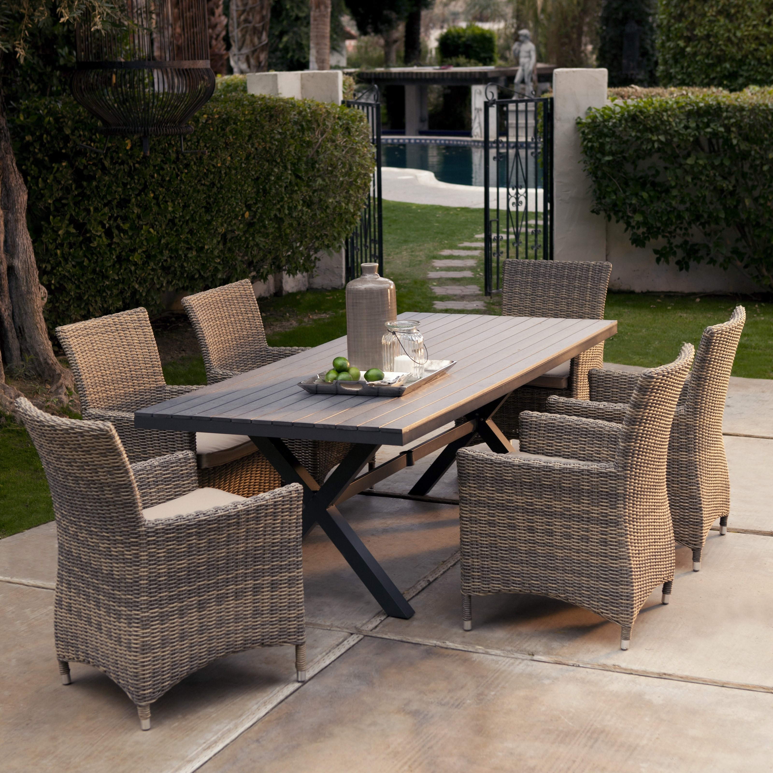 Recent Patio Conversation Dining Sets Intended For Patio : Furniture Round Dining Table Large Square Wooden Small Patio (Gallery 17 of 20)