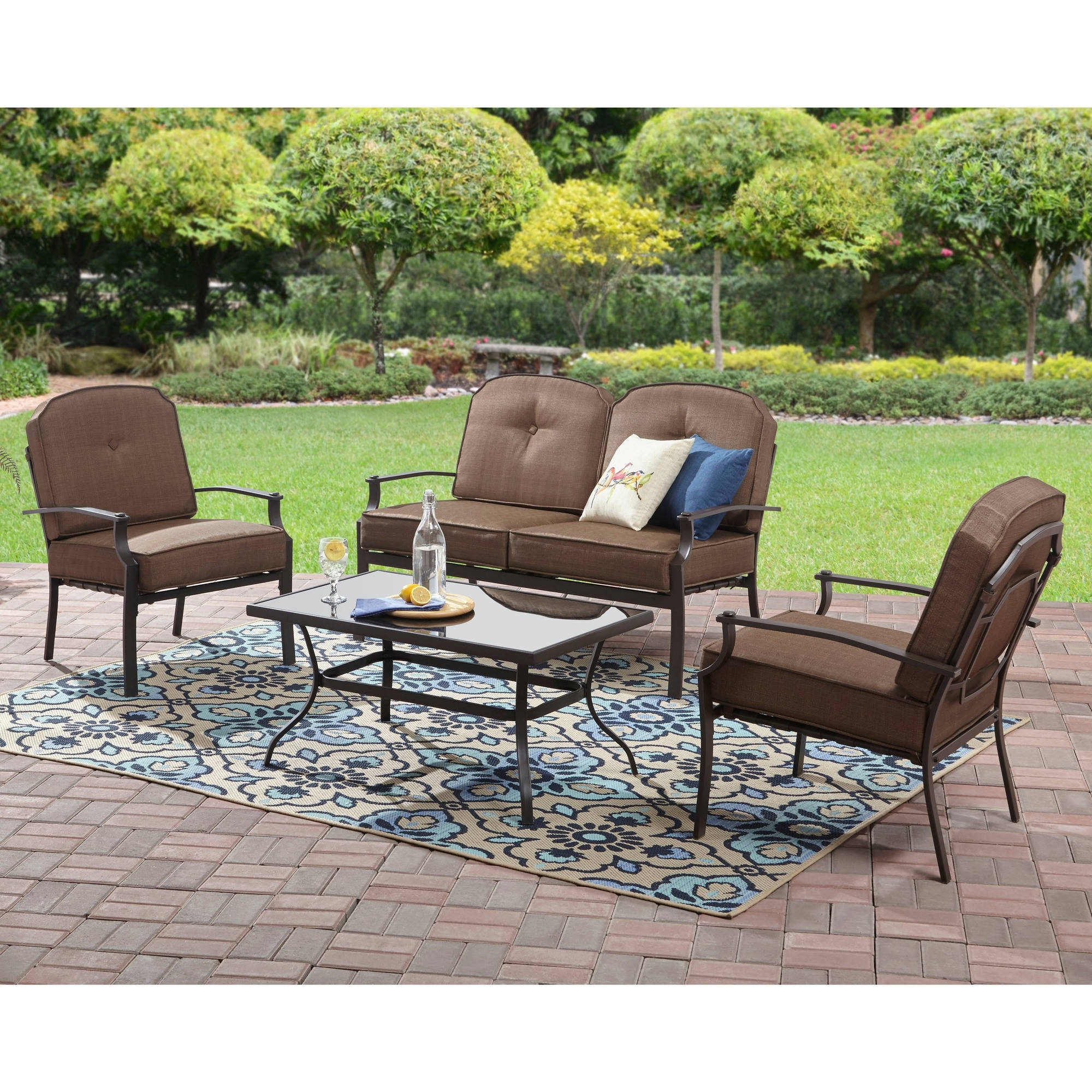 Recent Steel Patio Conversation Sets Regarding Mainstays Spring Creek 5 Piece Patio Dining Set, Seats 4 – Walmart (View 10 of 20)