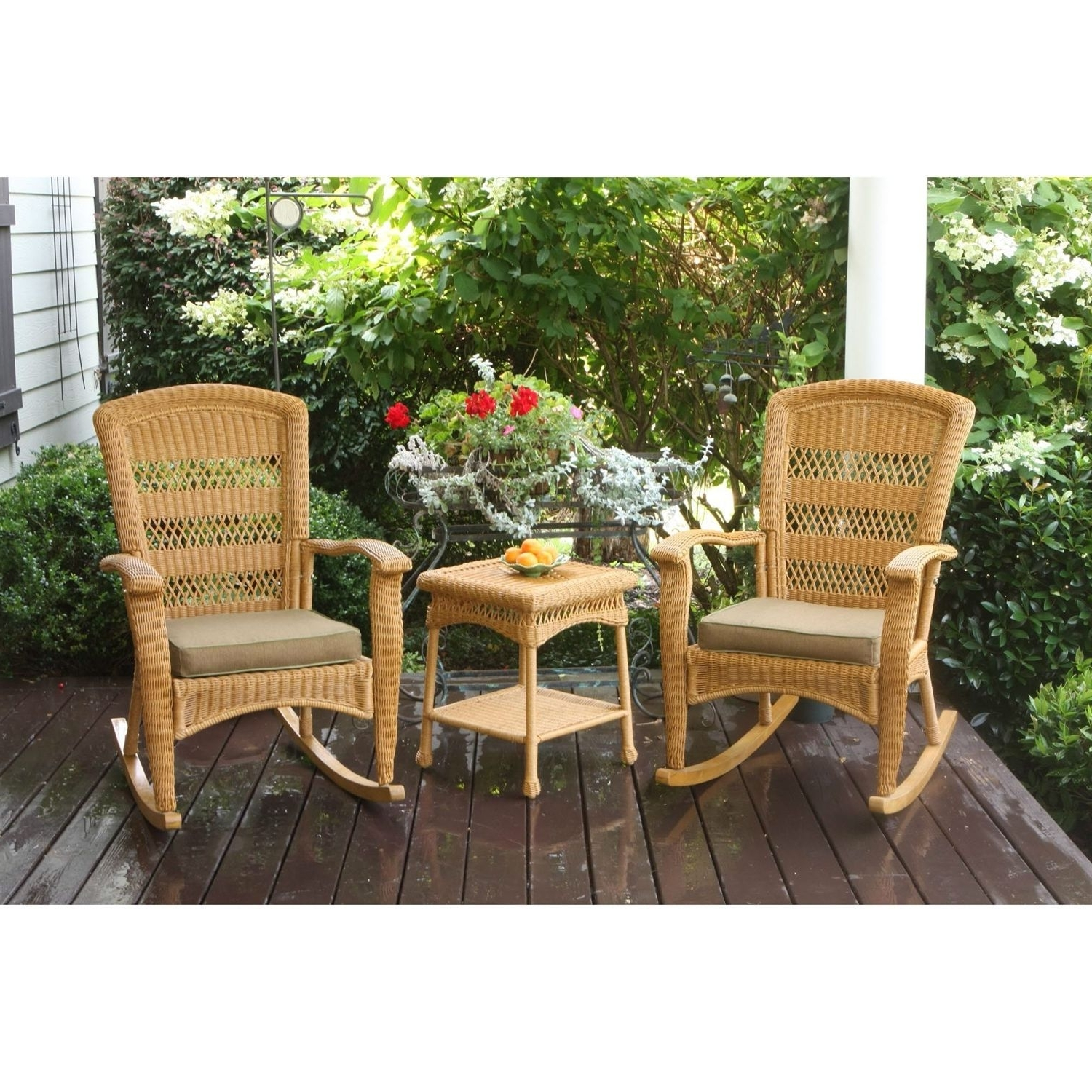 Recent Tortuga 3Pc Outdoor Porch Rocker Set 2 Amber Resin Wicker Rocking For Rattan Outdoor Rocking Chairs (View 19 of 20)