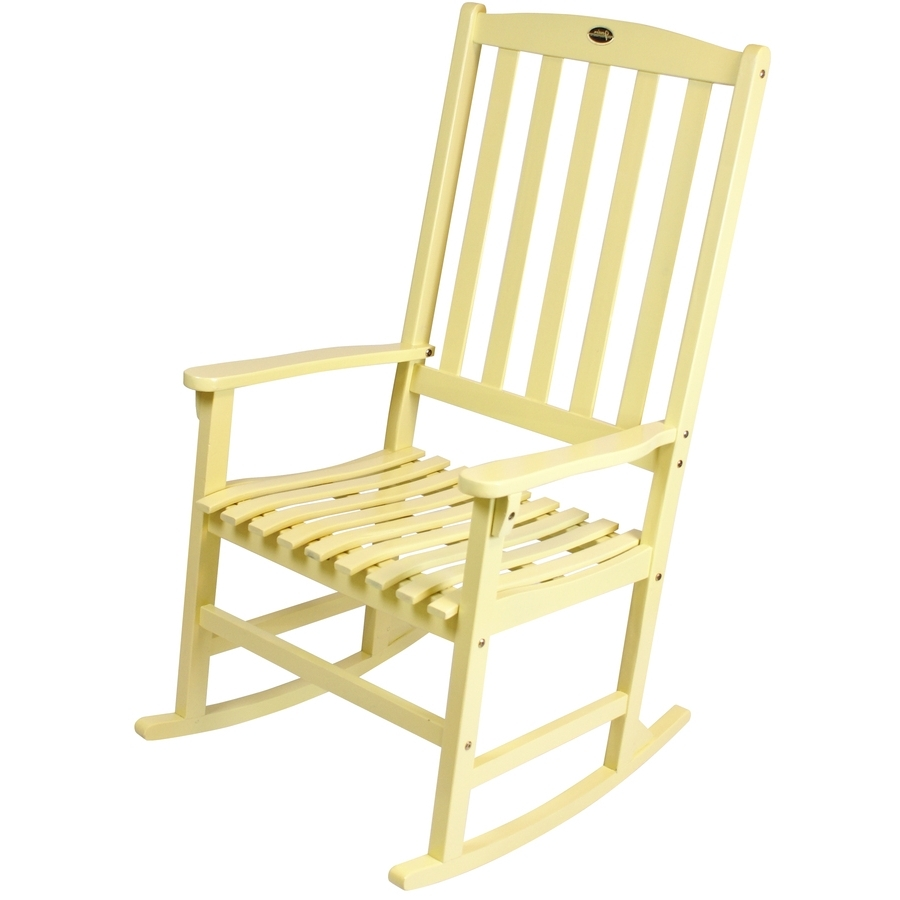 Recent Yellow Outdoor Rocking Chairs Inside Shop Yellow Wood Slat Seat Outdoor Rocking Chair At Lowes (View 5 of 20)