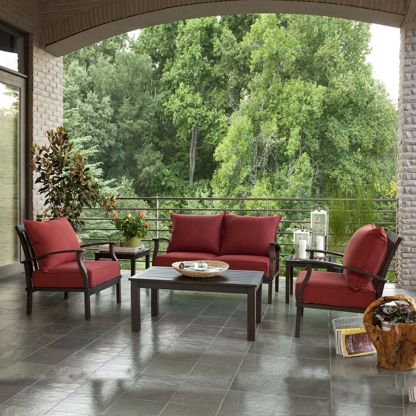Red Patio Conversation Sets Intended For Fashionable Allen + Roth Gatewood 4 Piece Outdoor Conversation Set – Lowe's (View 13 of 20)