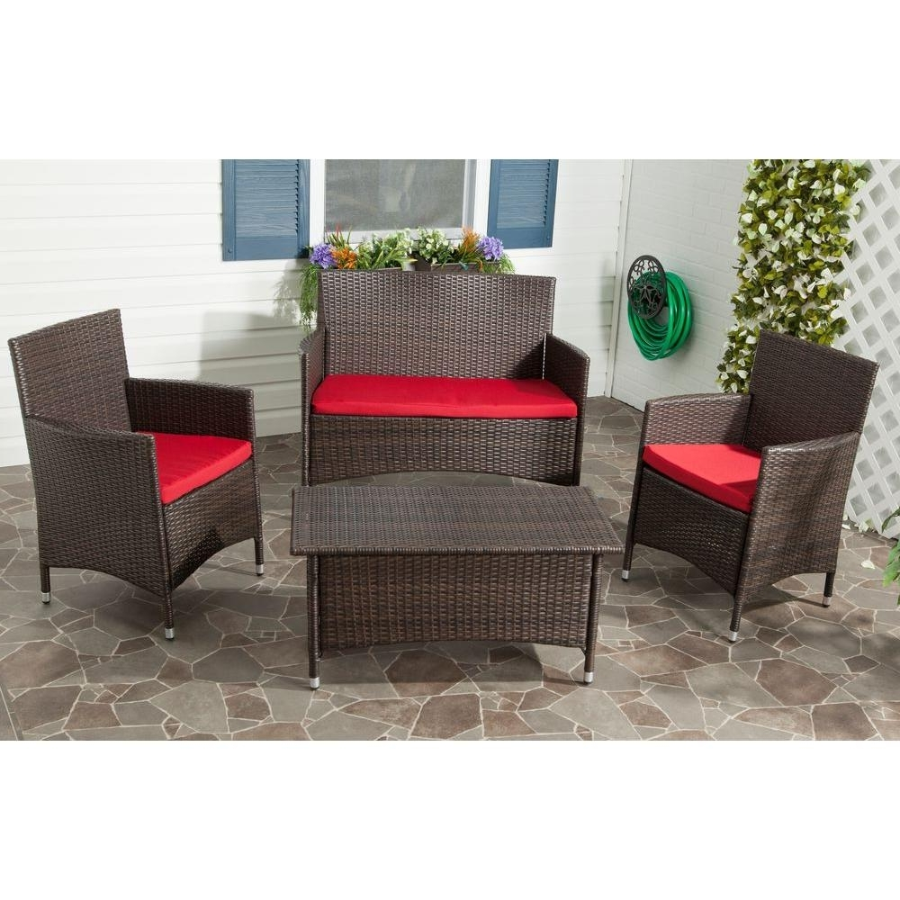 Red Patio Conversation Sets Throughout Most Current Safavieh Mojavi Brown 4 Piece Outdoor Patio All Weather Wicker (View 16 of 20)