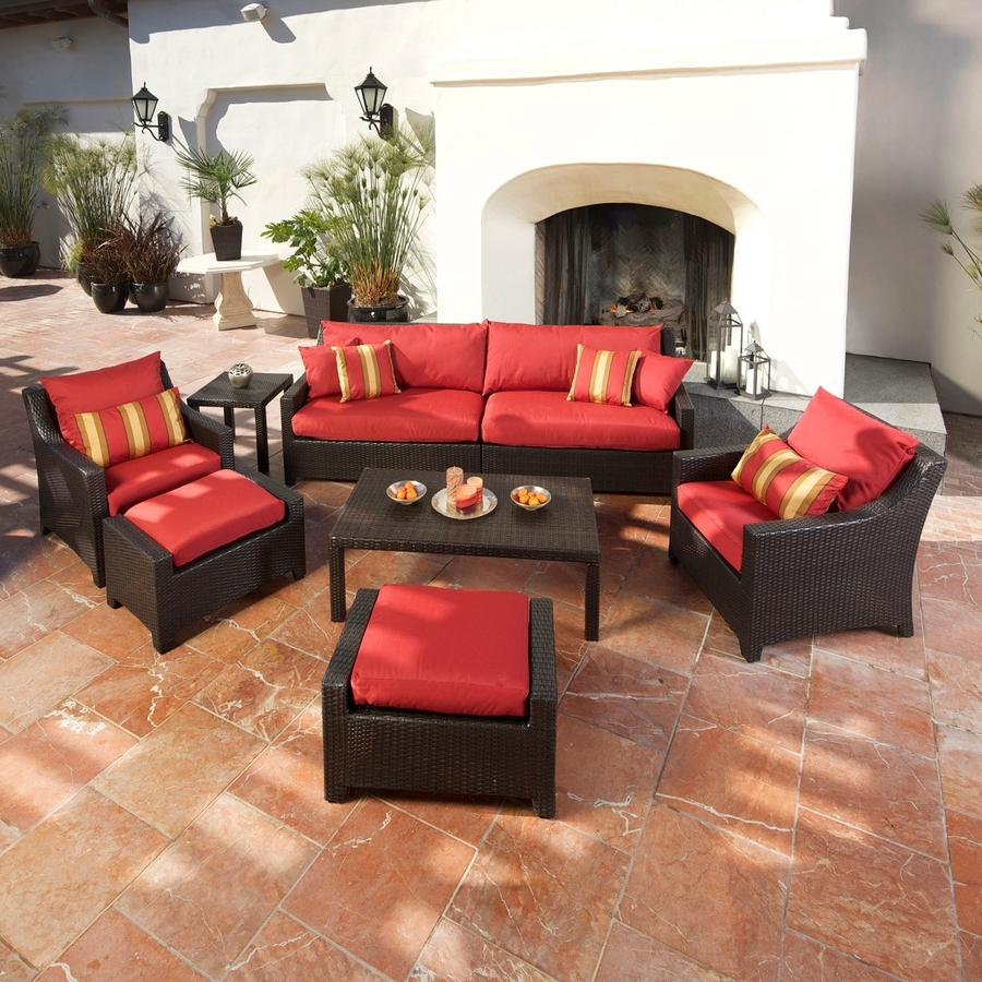 Red Patio Conversation Sets With Fashionable Shop Rst Brands Deco Cantina Red 8 Piece Wicker Patio Conversation (View 17 of 20)