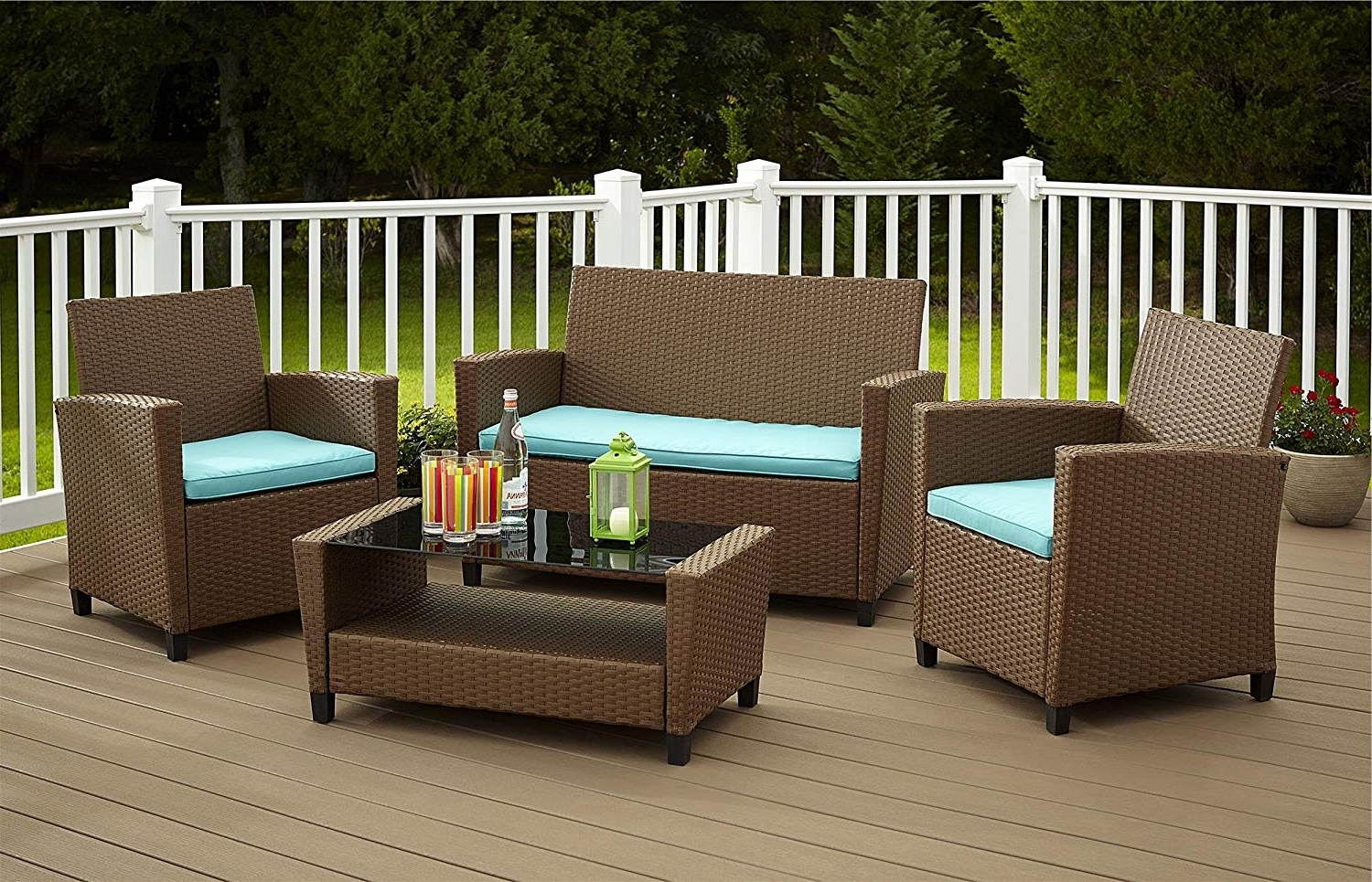 Resin Conversation Patio Sets Throughout Most Popular Terrific Resin Outdoor Furniture Amazon Com Cosco Products 4 Piece (View 14 of 20)