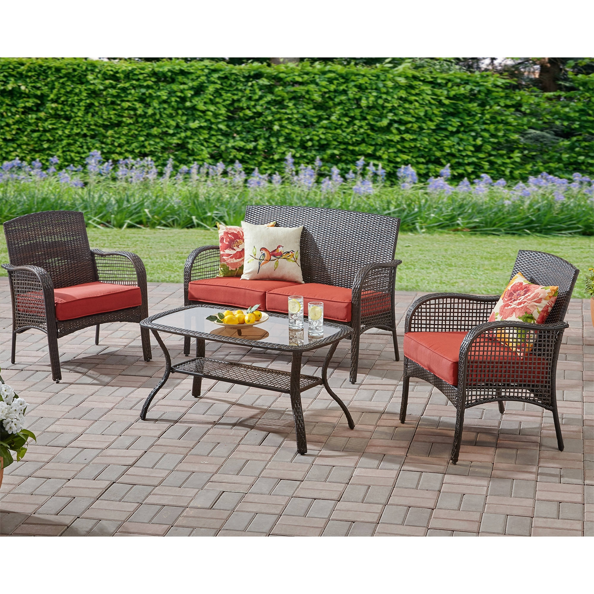 Resin Conversation Patio Sets With Regard To Most Up To Date Mainstays Cambridge Park 4 Piece Outdoor Conversation Set, Seats (View 2 of 20)