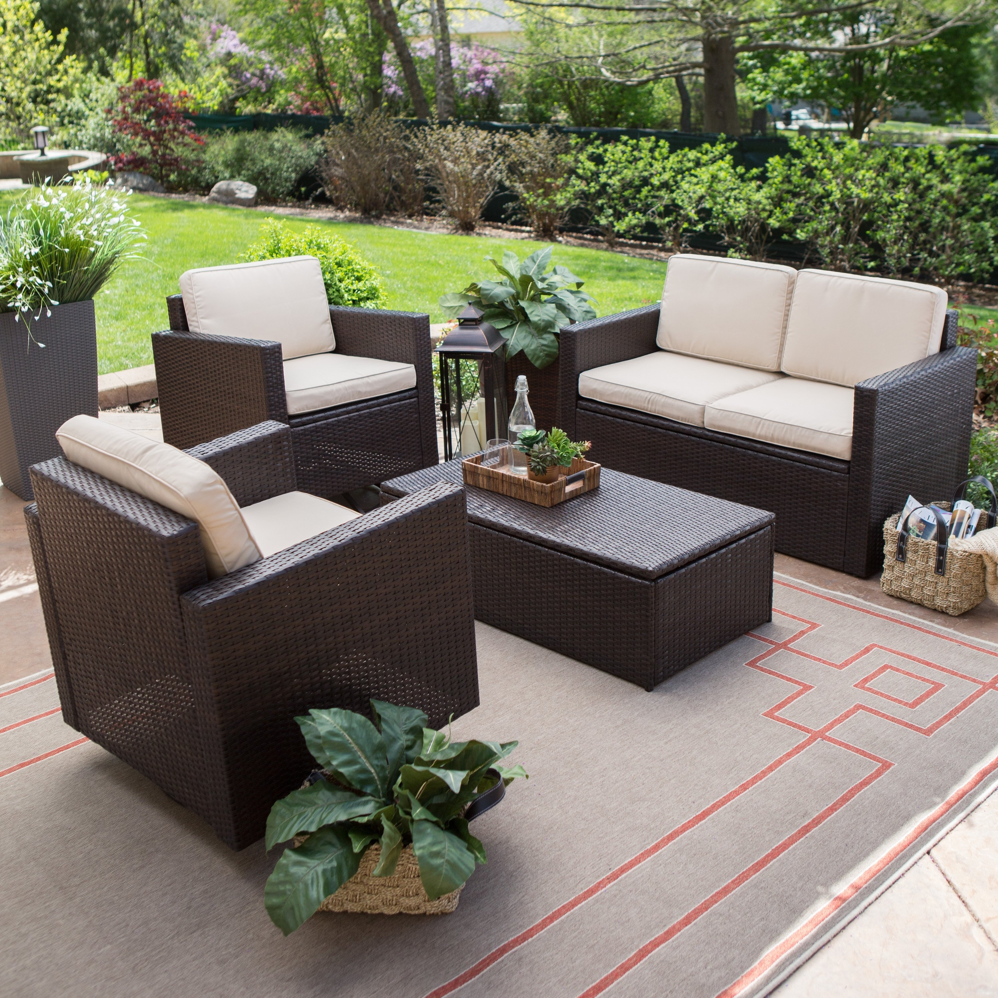 Resin Wicker Patio Conversation Sets With Most Current Coral Coast Berea Wicker 4 Piece Conversation Set With Storage (View 6 of 20)