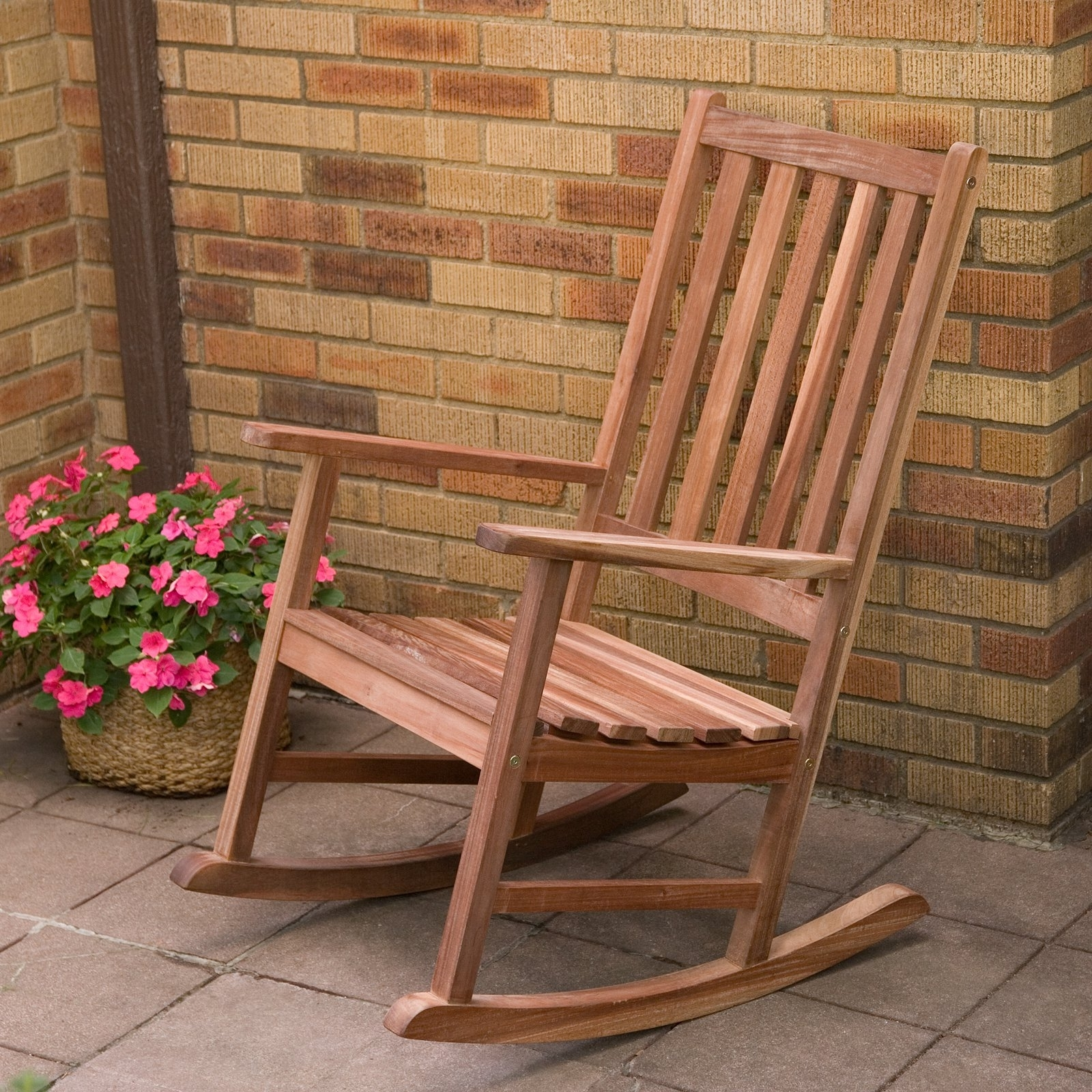 Resin Wicker Patio Rocking Chairs Pertaining To Preferred Furniture: Furniture Wooden Porch Rocking Chairs With Potted (View 12 of 20)