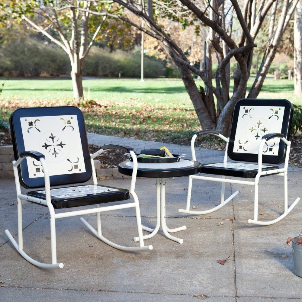 Retro Outdoor Rocking Chairs Within Famous Set Of 2 Outdoor Patio Furniture Vintage Retro Rocking Chairs Table (View 17 of 20)