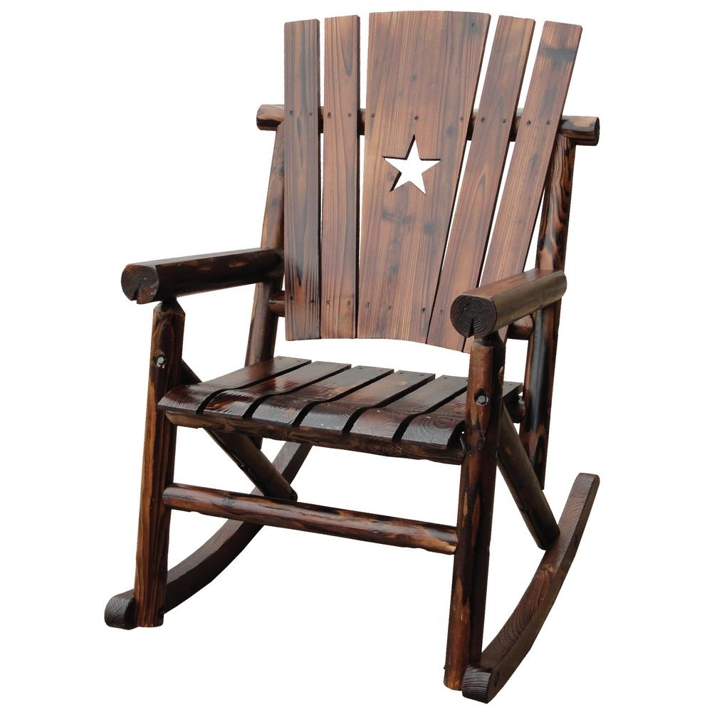 Rocking Chair Outdoor Wooden Pertaining To 2018 Leigh Country Char Log Patio Rocking Chair With Star Tx 93605 – The (View 17 of 20)