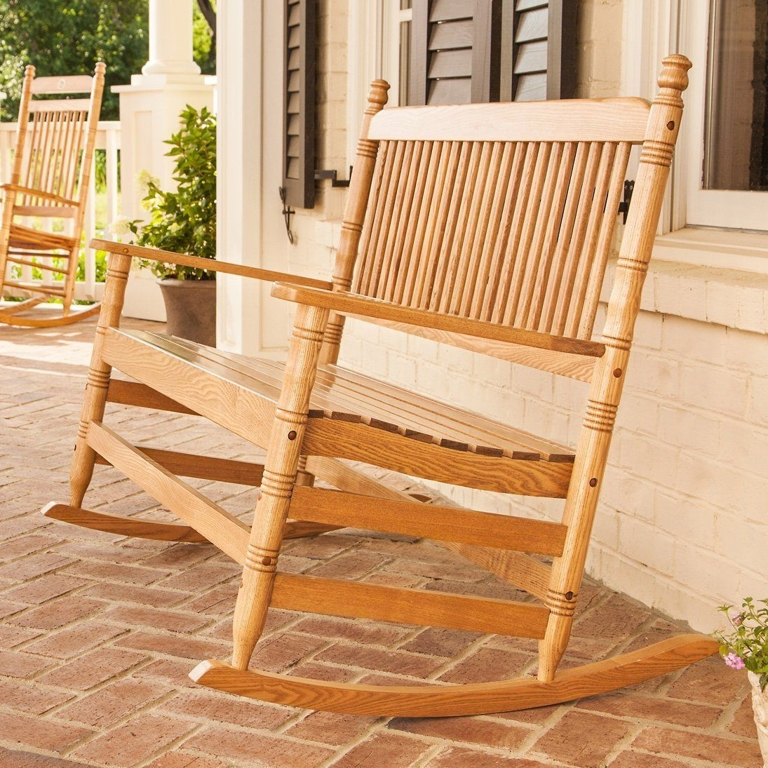 Rocking Chairs At Cracker Barrel Regarding Recent 4' Oak Double Rocking Chair – From Cracker Barrel – I Need This On (View 12 of 20)