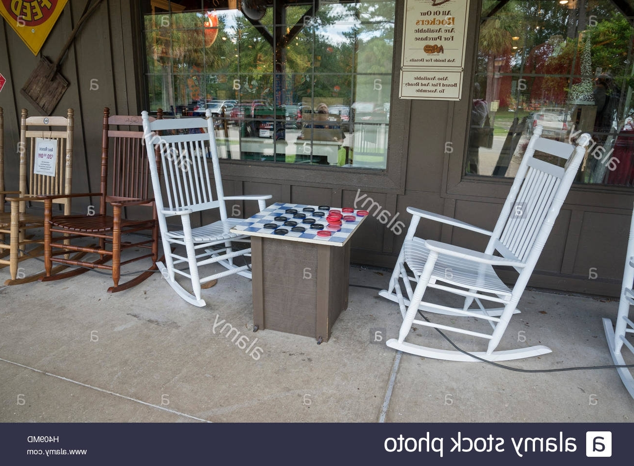 Rocking Chairs At Cracker Barrel Regarding Trendy Giant Checker Set With Rocking Chairs In Front Of A Cracker Barrel (View 15 of 20)