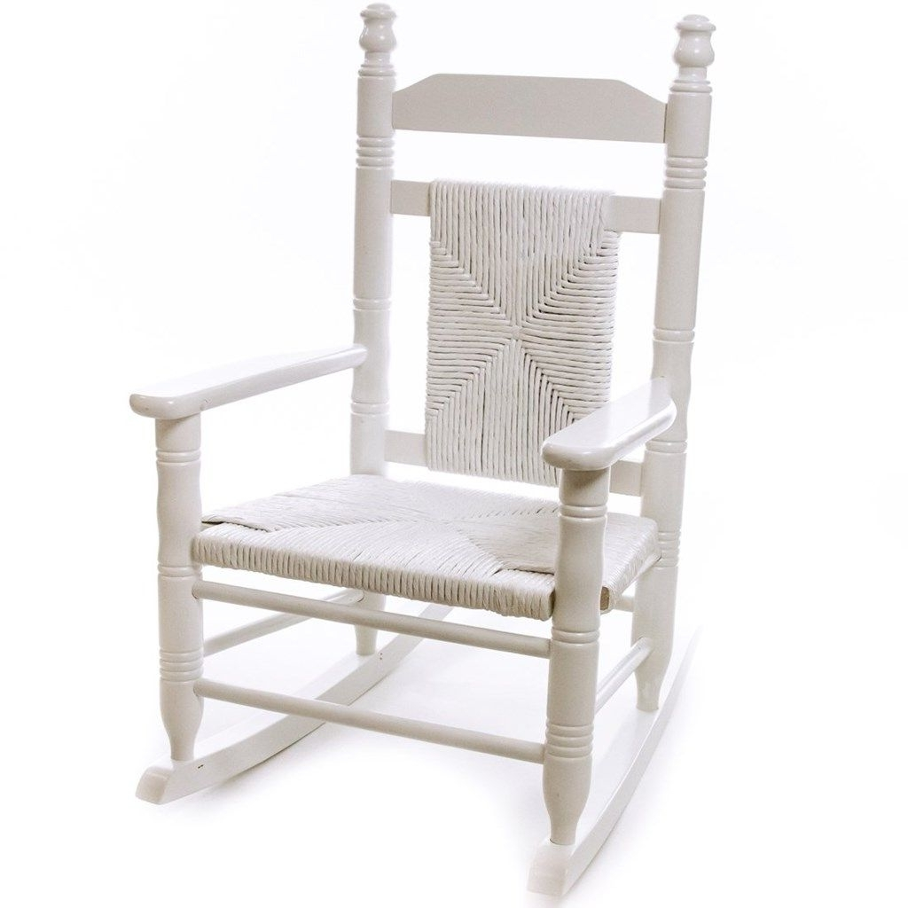 Rocking Chairs At Cracker Barrel Within Most Current Child Woven Seat Rocking Chair – Pure White (View 14 of 20)