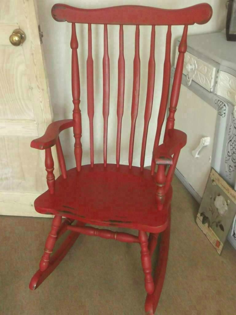 Rocking Chairs At Gumtree With Most Recent Solid Vintage Rocking Chair Painted With Laura Ashley Paint Aged (View 4 of 20)