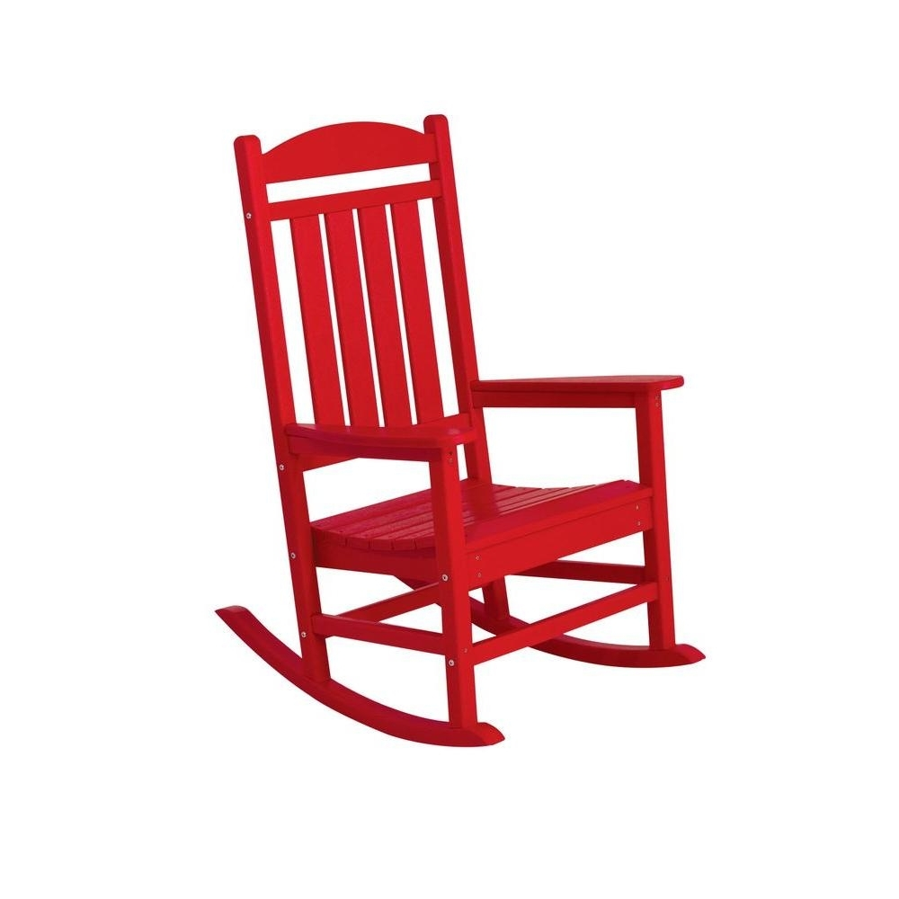 Rocking Chairs At Home Depot Inside Favorite Polywood Presidential White Patio Rocker R100Wh – The Home Depot (View 11 of 20)