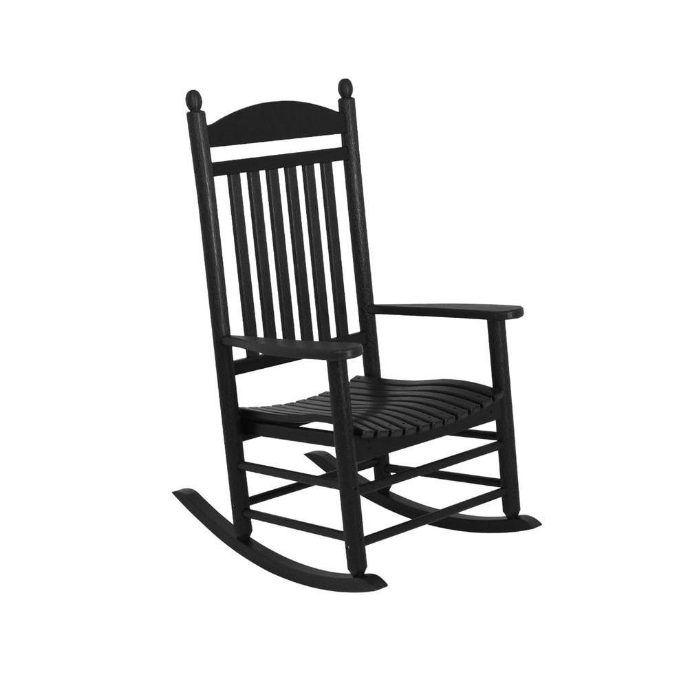 Rocking Chairs At Home Depot Within Favorite Polywood Jefferson Black Patio Rocker J147bl – The Home Depot (View 14 of 20)