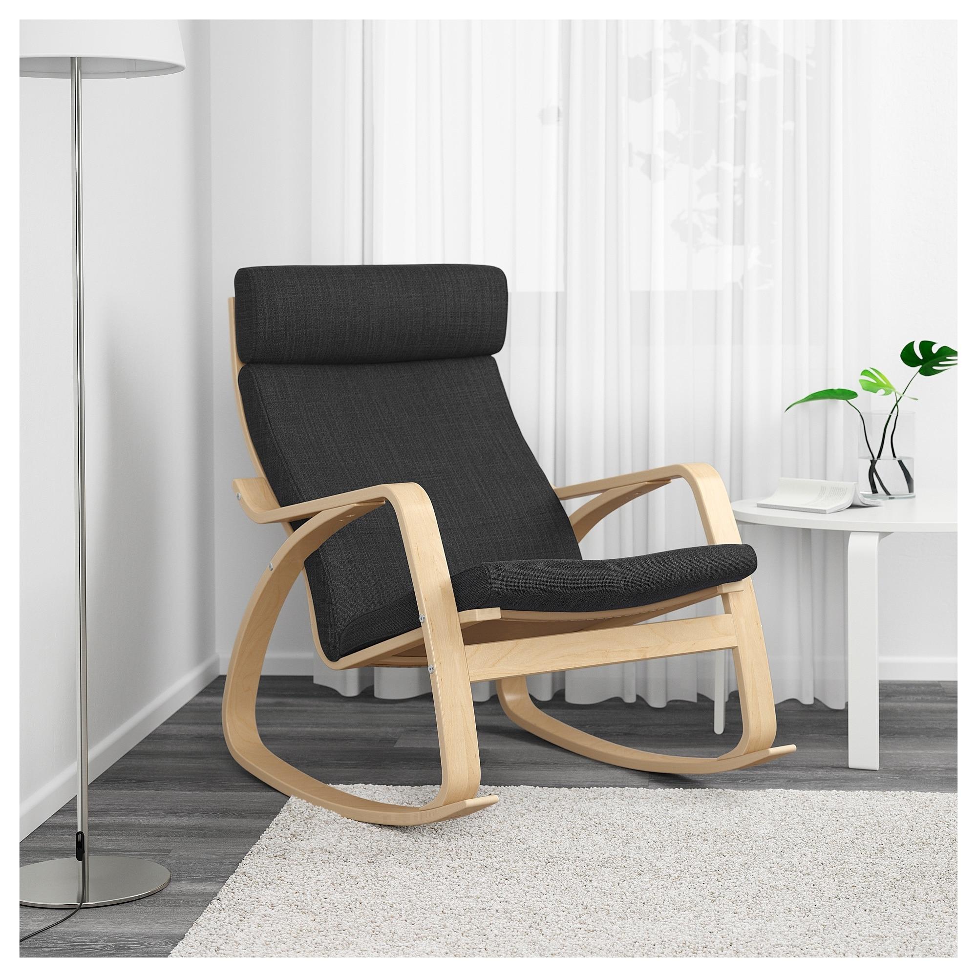 Rocking Chairs At Ikea Regarding 2019 Poäng Rocking Chair Birch Veneer/hillared Anthracite – Ikea (View 7 of 20)