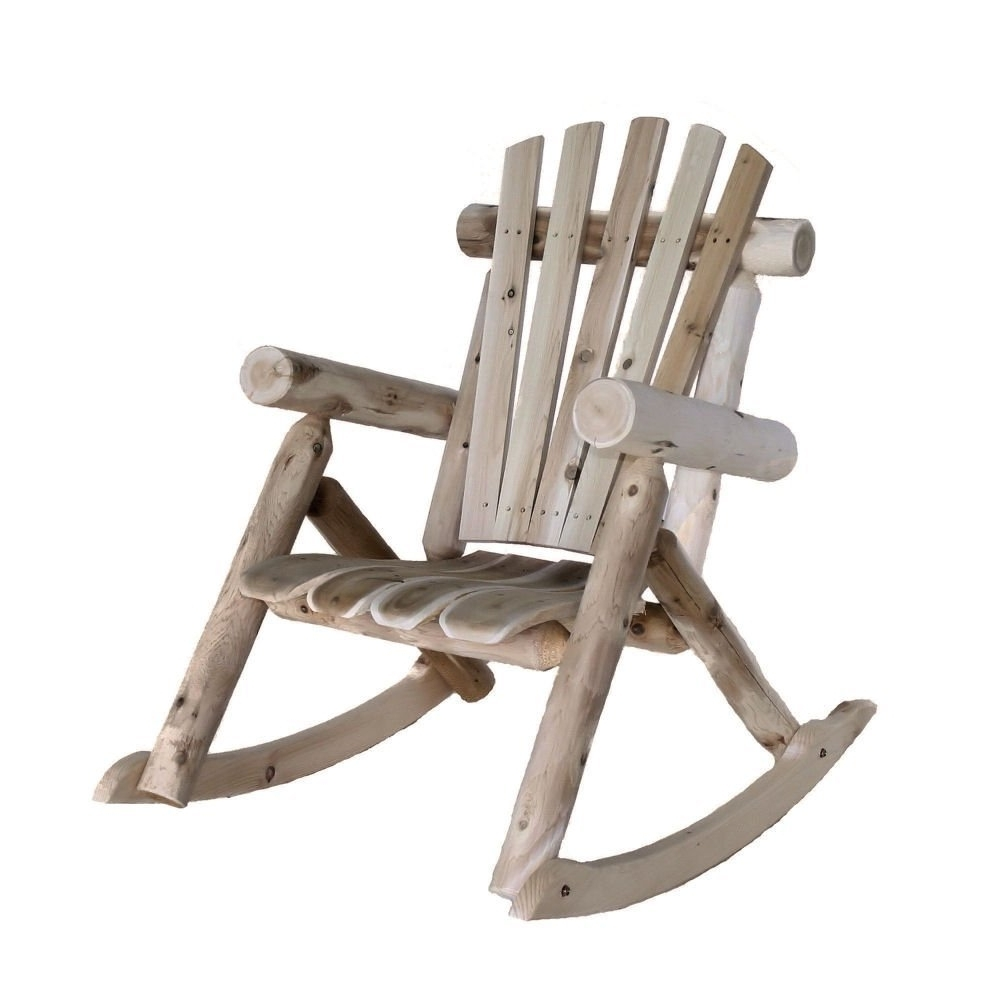 Rocking Chairs At Kroger Regarding Well Known Furniture: Great Light Grey Log Rocking Chair As Outdoor Rustic (View 17 of 20)