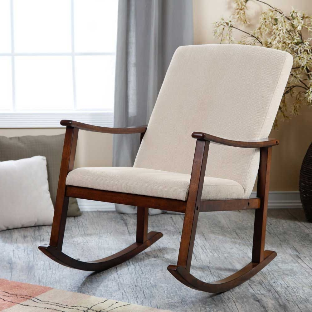 Rocking Chairs For Baby Room With Regard To Popular Modern Design Wooden Rocking Chair With Thick Seat And Baby Nursery (View 19 of 20)
