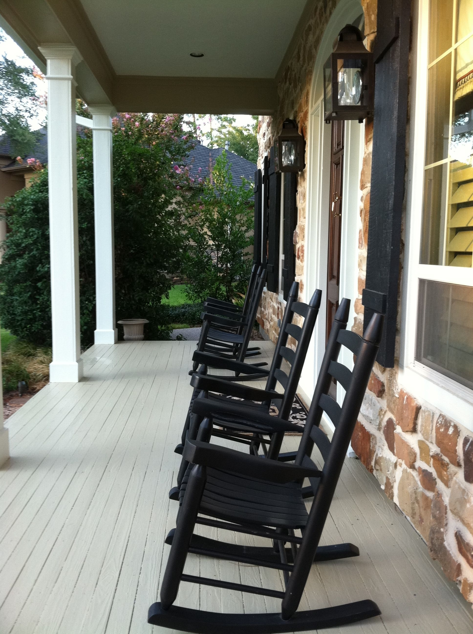 Rocking Chairs For Front Porch Inside Most Popular Outdoor Rocking Chairs: Outdoor Rocking Chairs Black Porch (View 12 of 20)