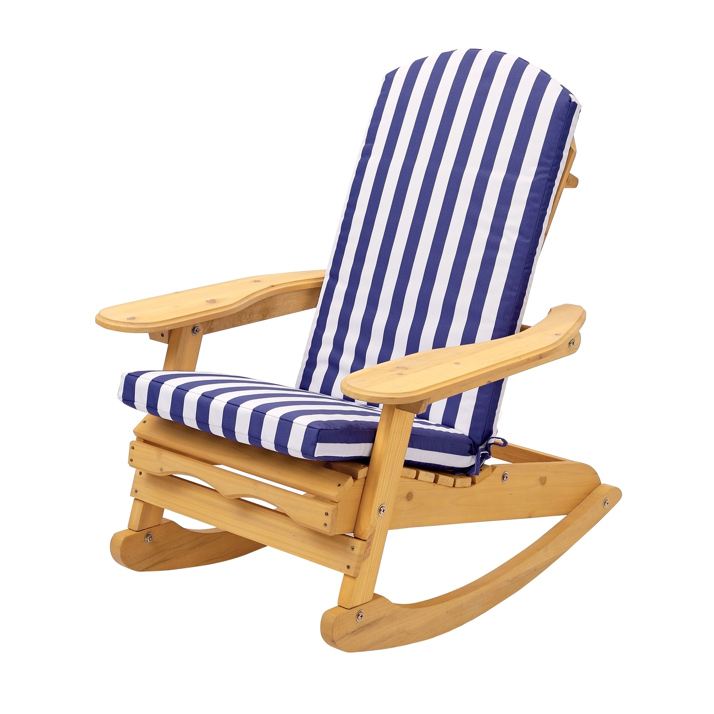 Rocking Chairs For Garden Pertaining To Newest Garden Patio Rocking Chair With Blue & White Striped Cushion (View 12 of 20)