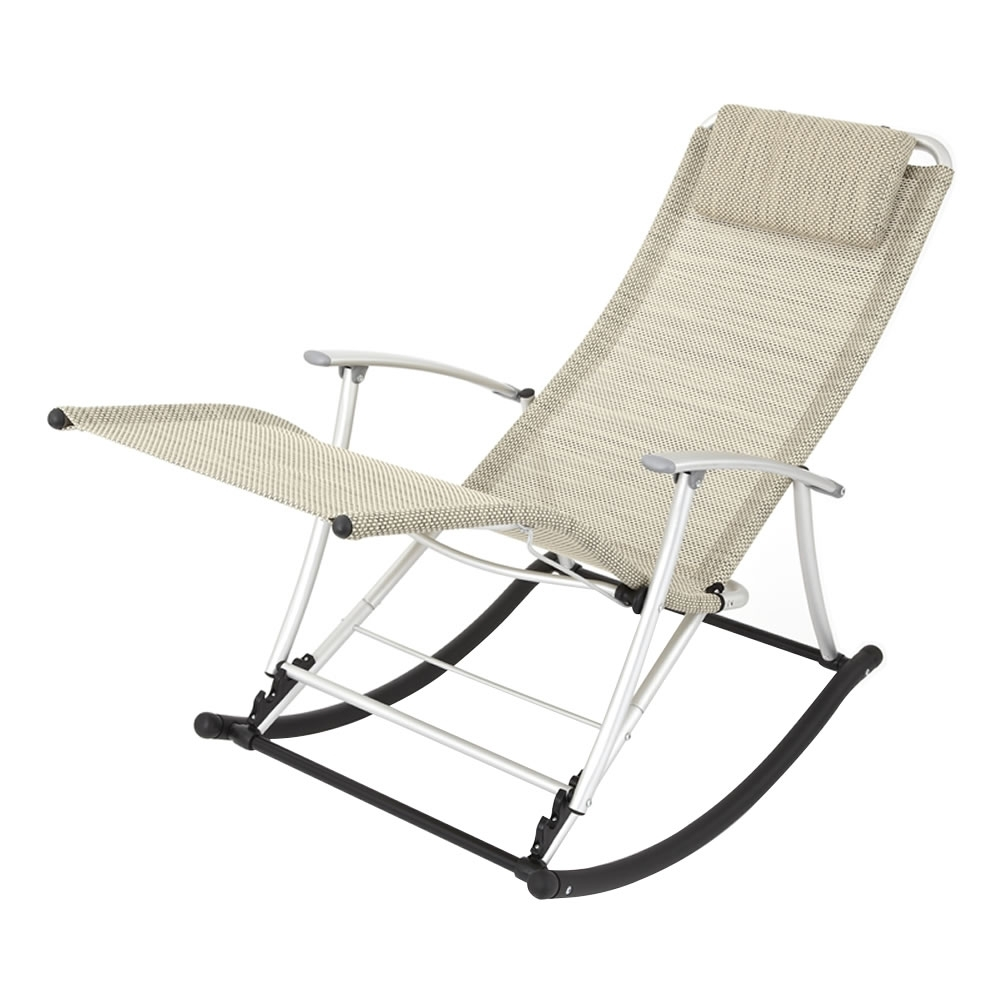 Rocking Chairs For Garden Pertaining To Preferred Leisure Foldable Aluminium Beige Rocking Toblino Chair Lounger (View 4 of 20)
