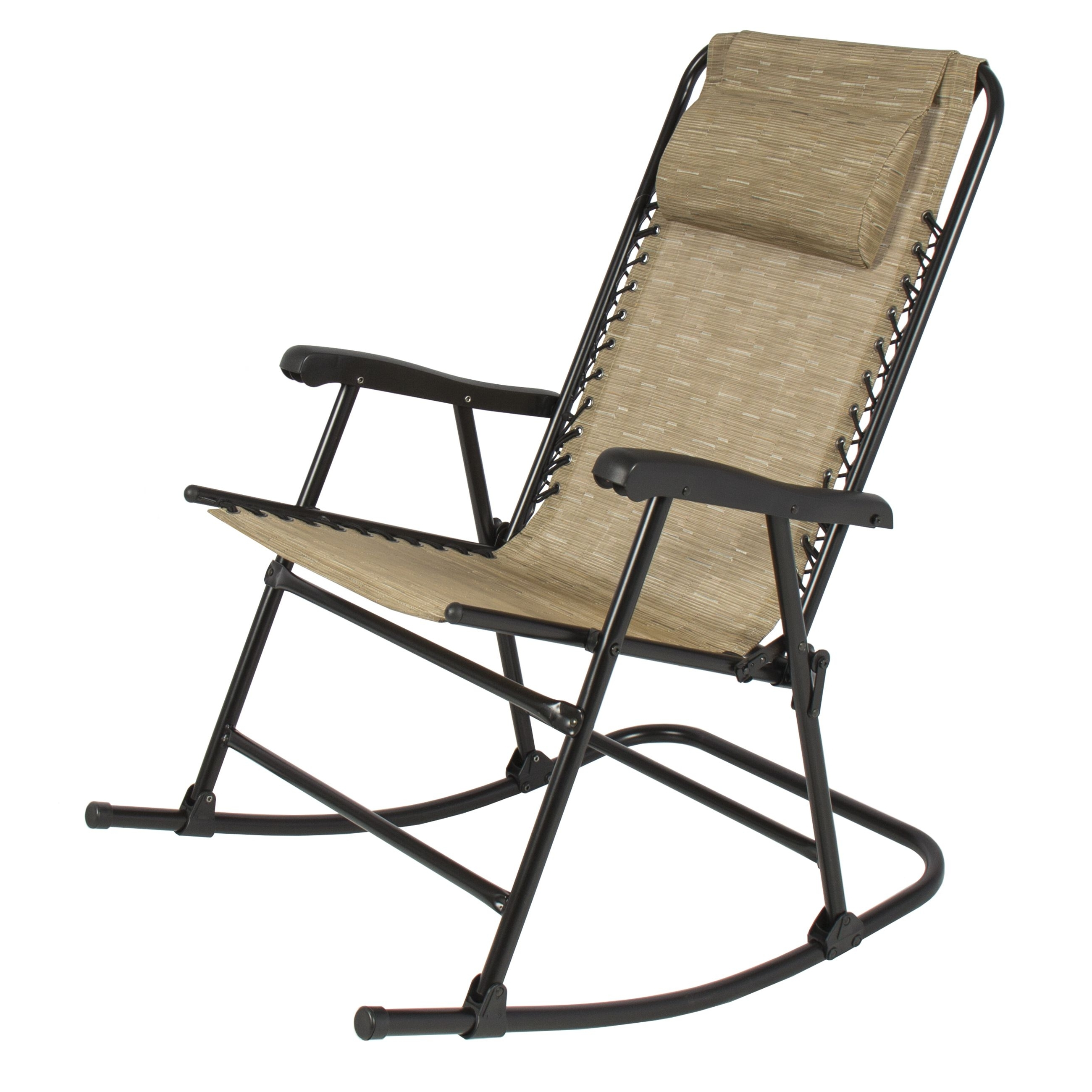 Rocking Chairs For Patio Pertaining To Most Popular Folding Rocking Chair Foldable Rocker Outdoor Patio Furniture Beige (View 16 of 20)