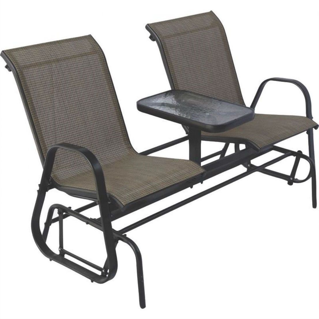 Rocking Chairs For Patio Within 2018 2 Person Outdoor Patio Furniture Glider Chairs With Console Table (View 18 of 20)