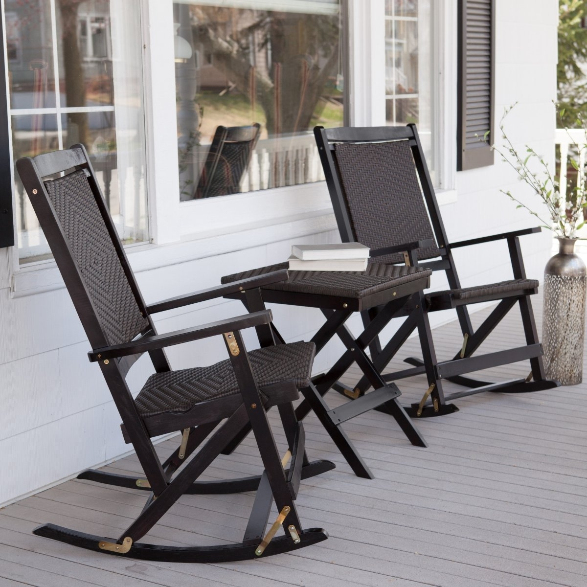 Rocking Chairs For Porch Pertaining To Latest Reupholsters Black Rocking Chairs — The Home Redesign (View 19 of 20)