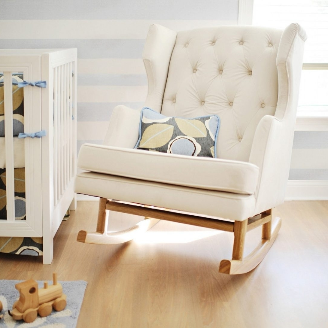 Rocking Chairs For Small Spaces In Well Liked White Color Modern Tufted Nursery Rocker For Small Room Spaces With (View 17 of 20)