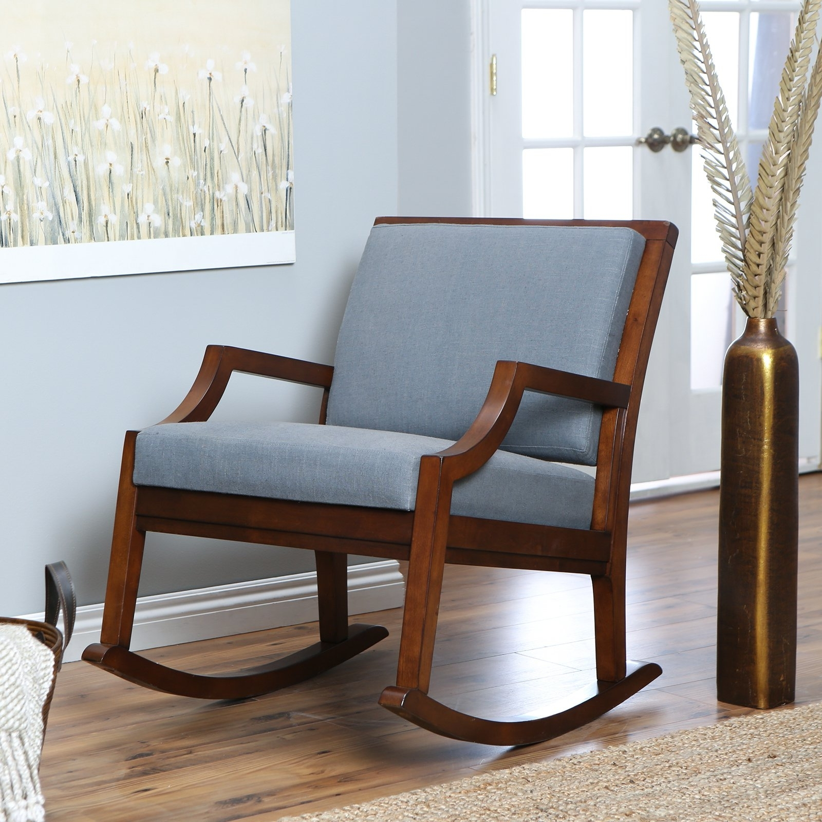 Rocking Chairs With Cushions Throughout Latest Brown Wooden Indoor Rocking Chairs With Blue Cushions Set On (View 11 of 20)