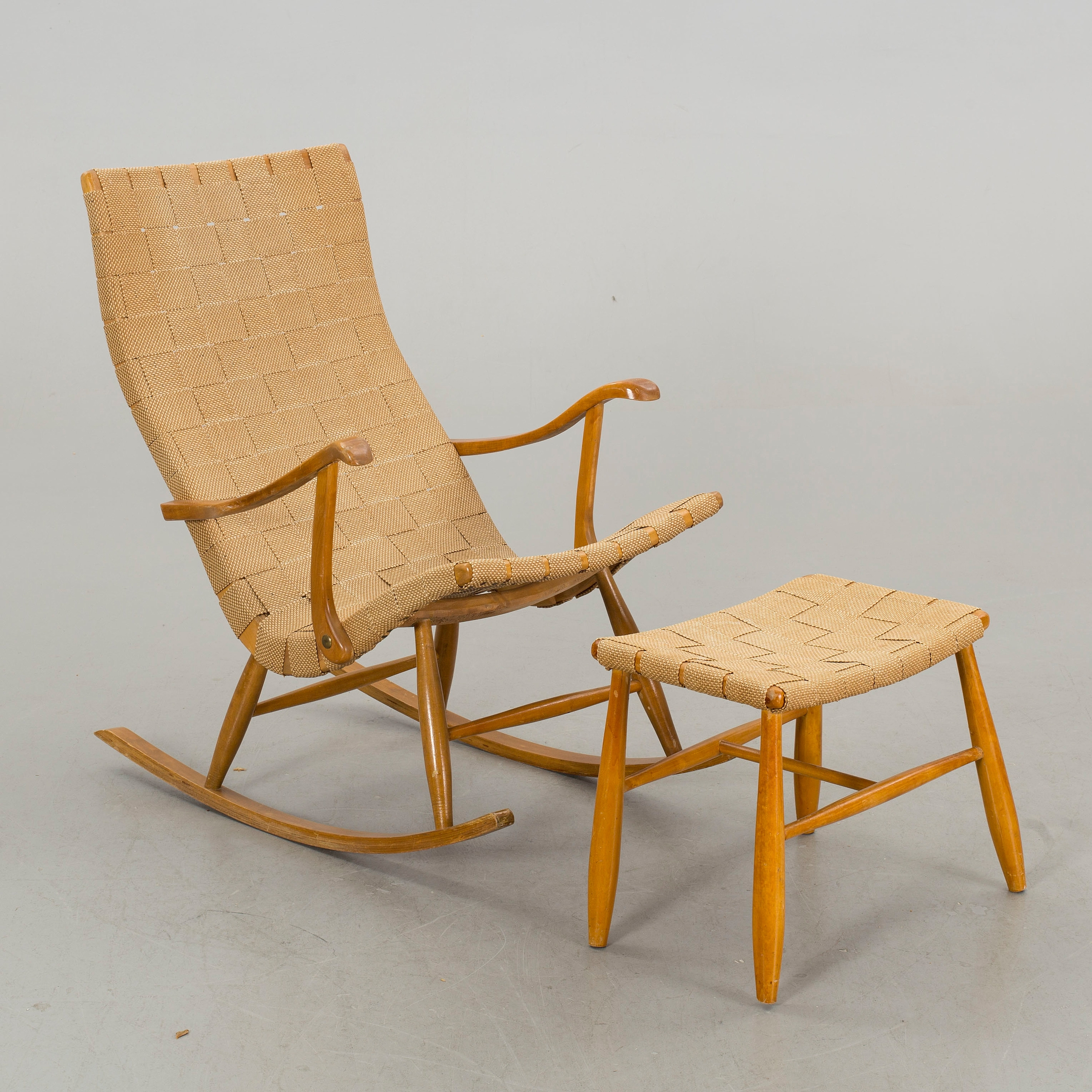 Rocking Chairs With Footstool In Preferred A Rocking Chair With Footstool, 1940/50S, – Bukowskis (View 13 of 20)