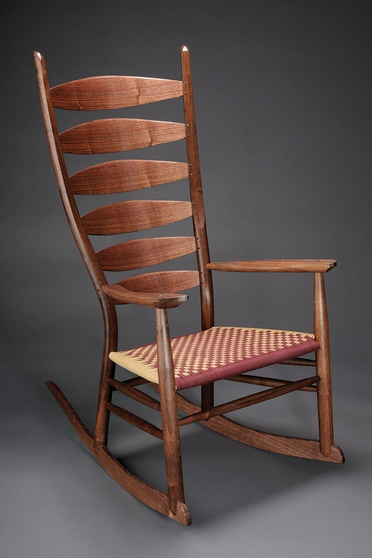 Rocking Chairs With Lumbar Support With Regard To Favorite Wooden Rocking Chair Brian Boggs Chairmakers Shaker Mission Walnut (View 18 of 20)