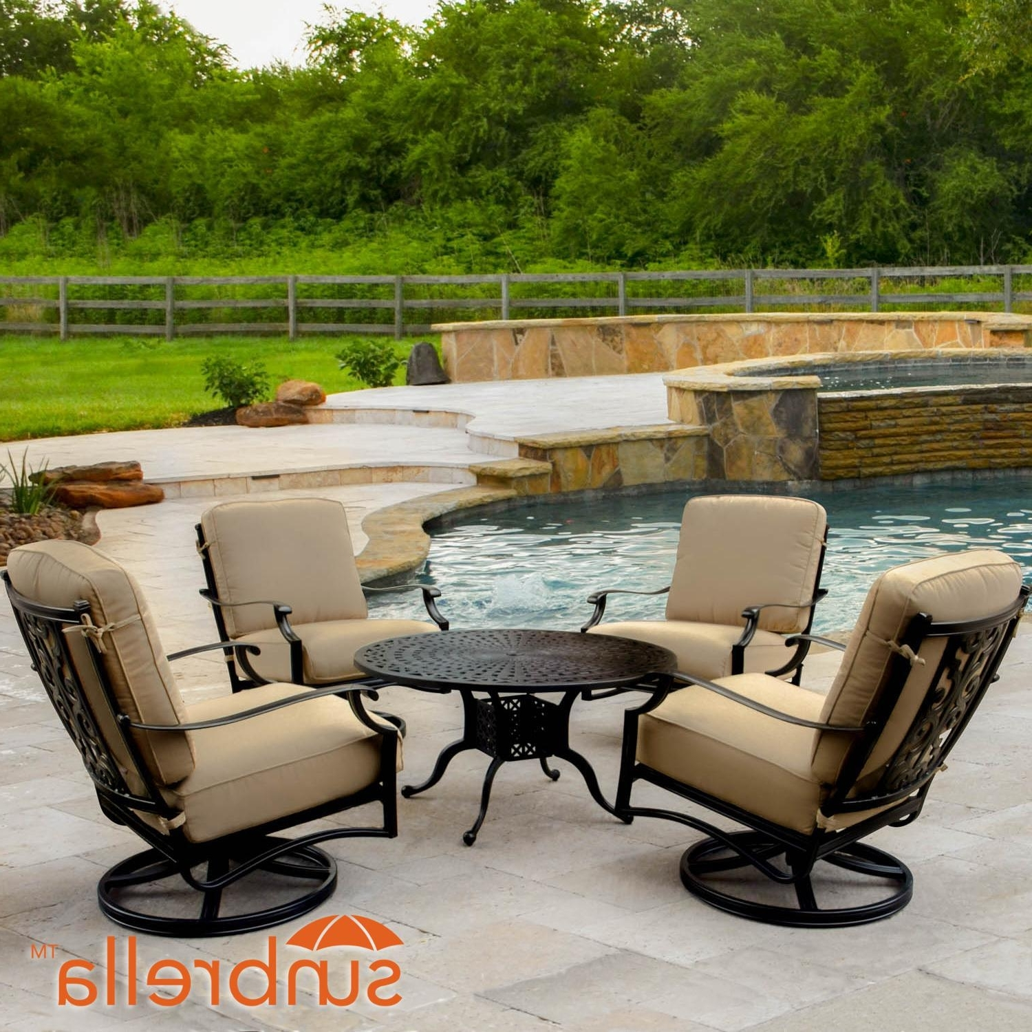 Round Patio Conversation Sets Inside Well Known Bocage 5 Piece Cast Aluminum Patio Conversation Set W/ Round Coffee (View 13 of 20)