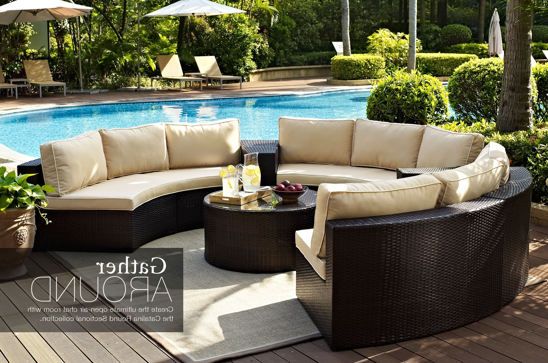 Round Patio Conversation Sets Inside Widely Used Ultimate Outdoor Furniture Round Sectional Circular Patio (View 9 of 20)