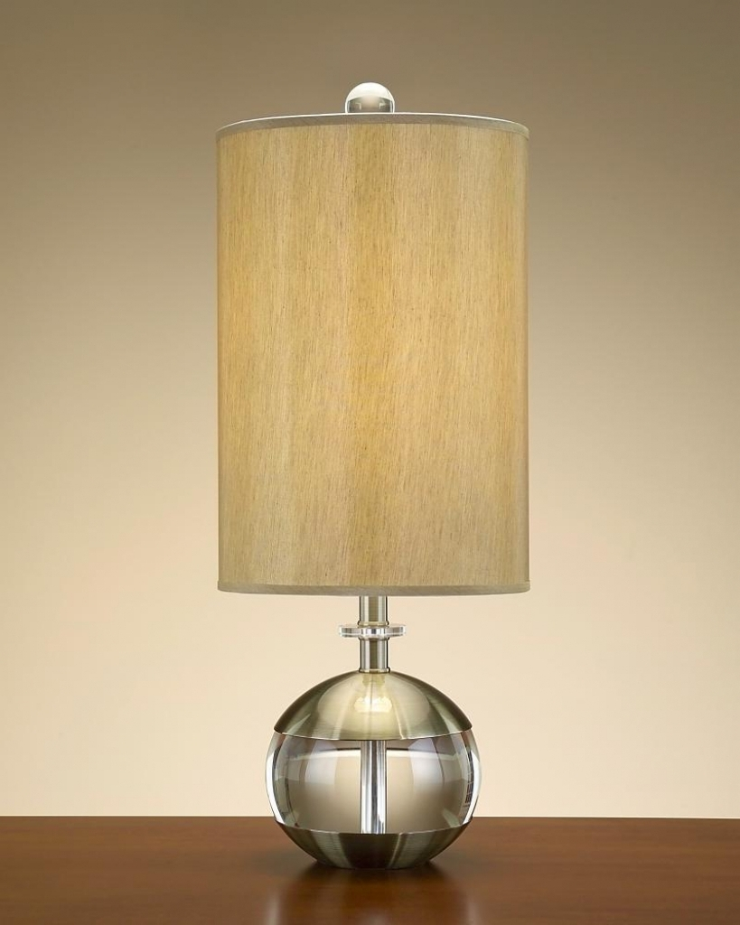 Round Table Lamp With Cylinder Lamp Shade In Oak Table Living Room Intended For Famous Living Room Table Lamp Shades (View 4 of 20)