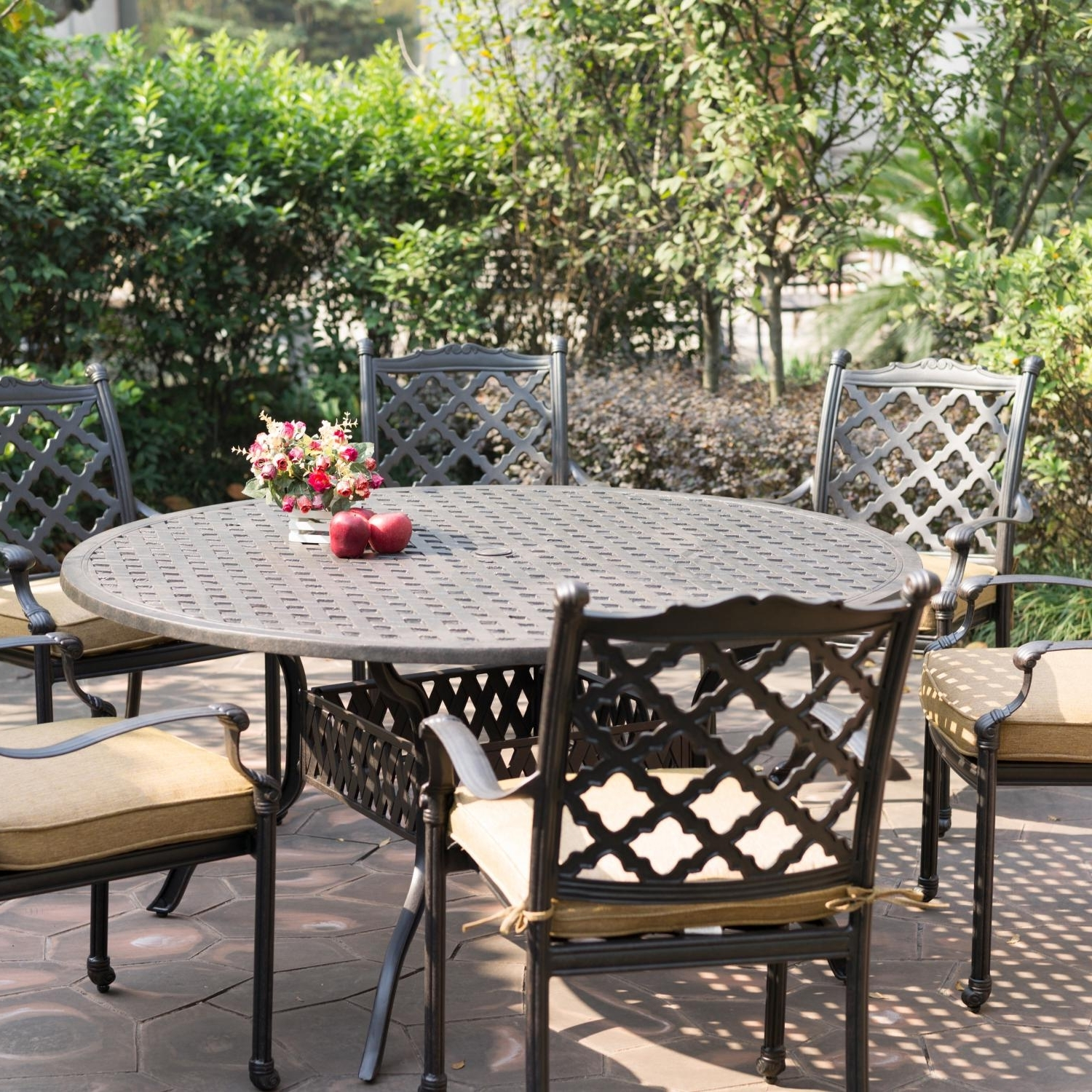 Round Table Patio Furniture Sets Beautiful Darlee Camino Real Cast Throughout Preferred Round Patio Conversation Sets (Gallery 17 of 20)