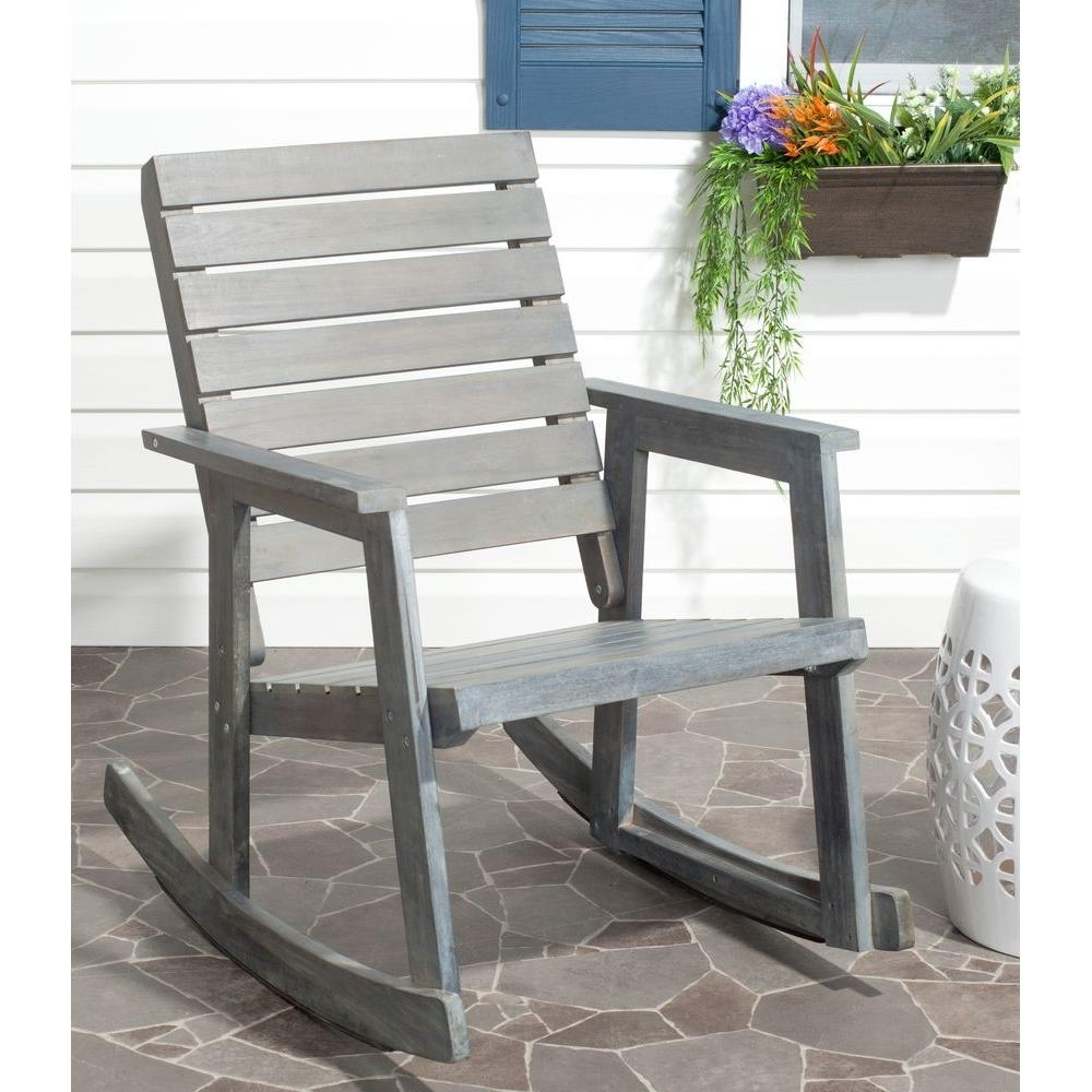 Safavieh Alexei Ash Gray Acacia Wood Patio Rocking Chair Fox6702a Pertaining To Well Liked Wooden Patio Rocking Chairs (View 8 of 20)