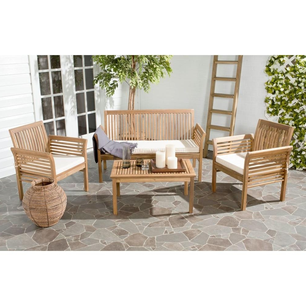 Safavieh Carson Teak Look 4 Piece Outdoor Patio Conversation Set With Regard To Most Recent Wood Patio Furniture Conversation Sets (View 13 of 20)