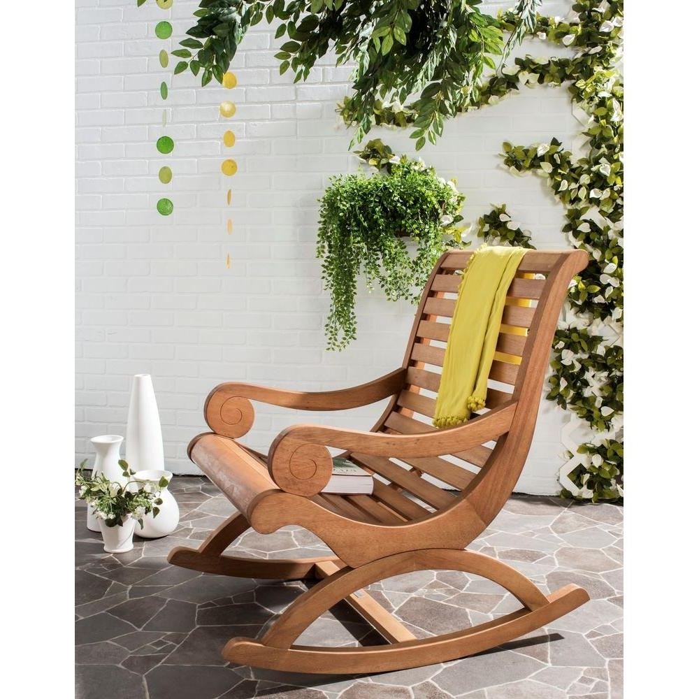 Safavieh Sonora Teak Brown Outdoor Patio Rocking Chair Pat7016B Throughout Preferred Brown Wicker Patio Rocking Chairs (View 16 of 20)